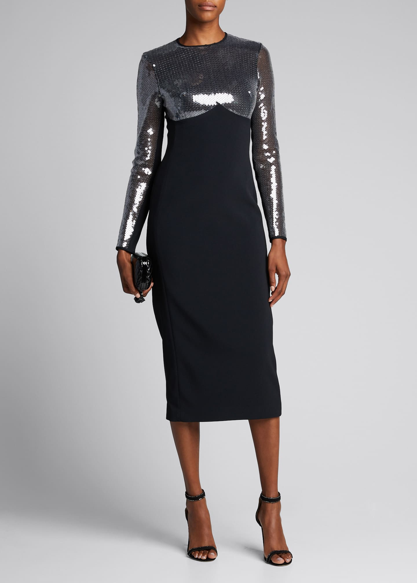 David Koma Cady Sequined-Sleeve Dress