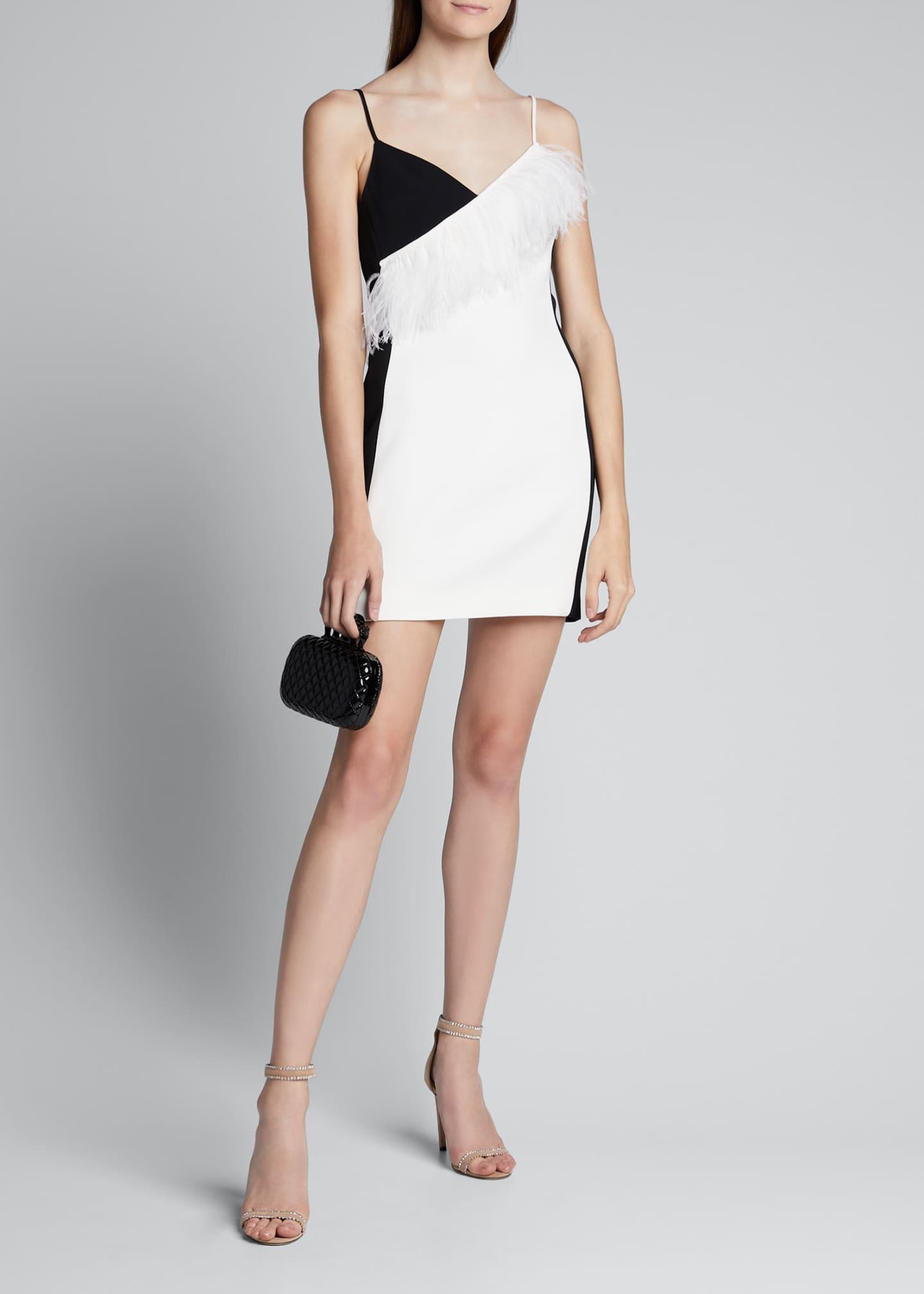 David Koma Feather-Trim Sleeveless Mini Dress