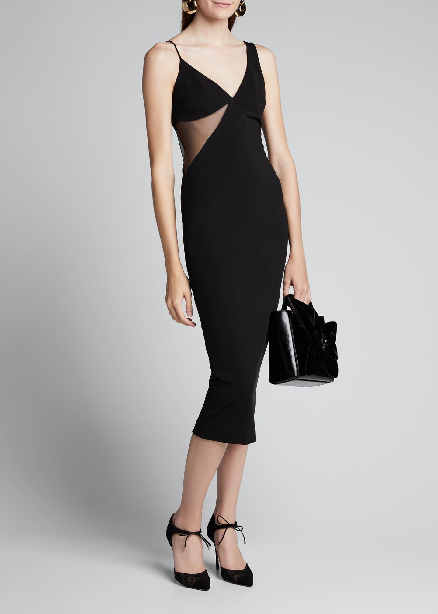 David Koma Tulle-Trim Body-Con Dress