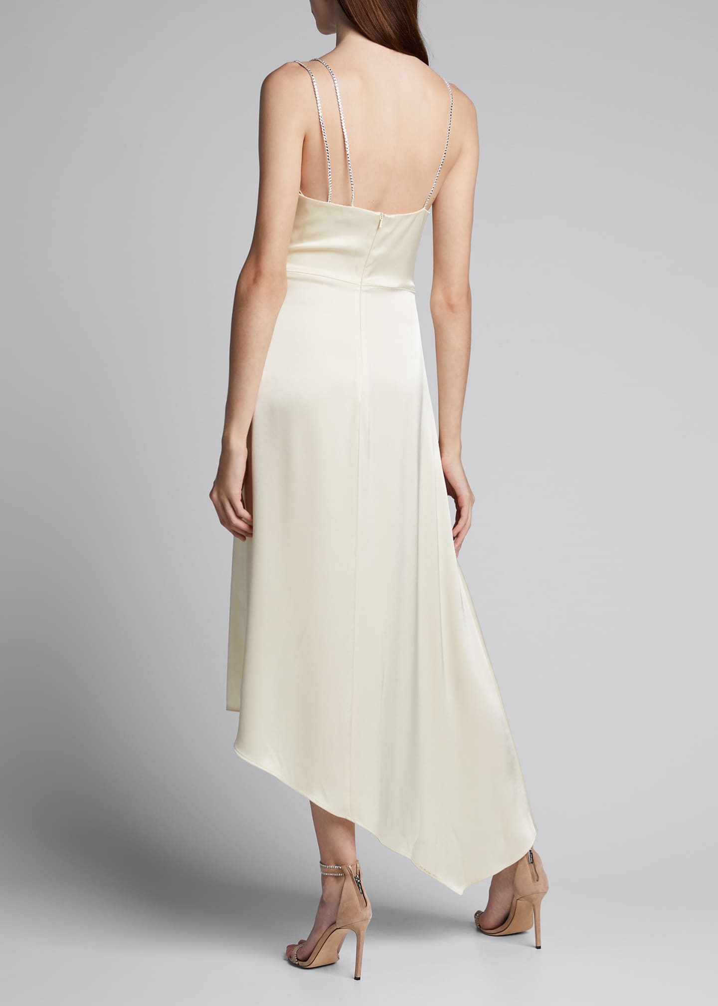 Image 2 of 5: Ruched Satin Asymmetric Dress