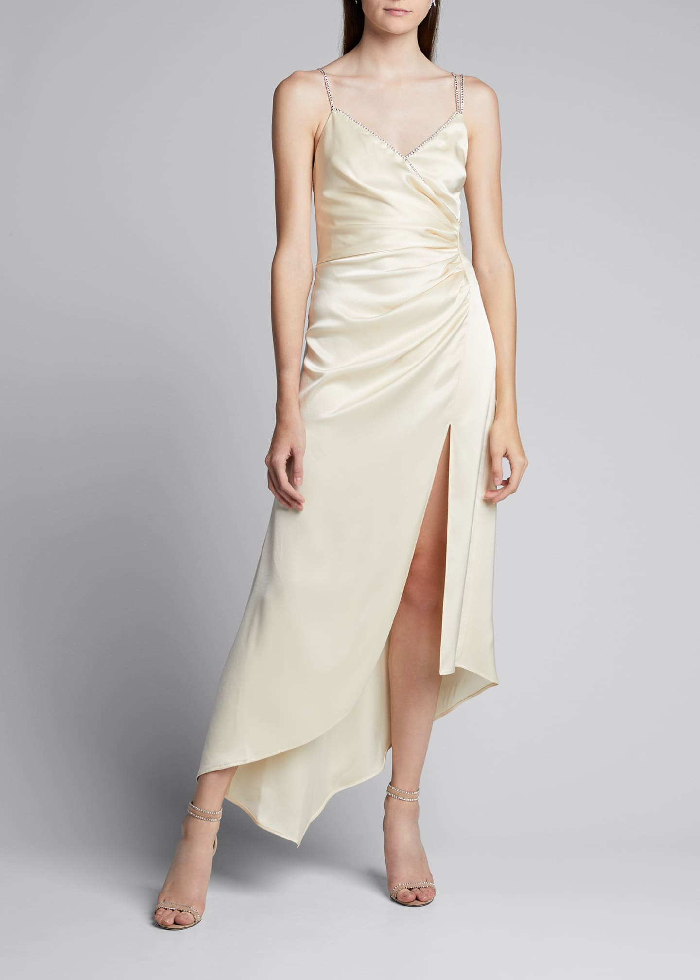 Image 3 of 5: Ruched Satin Asymmetric Dress