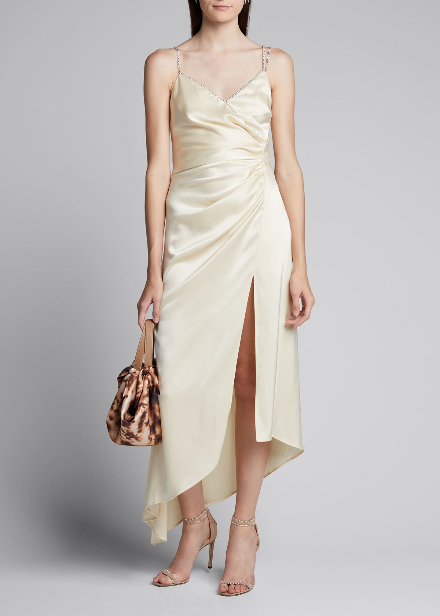 Image 1 of 5: Ruched Satin Asymmetric Dress