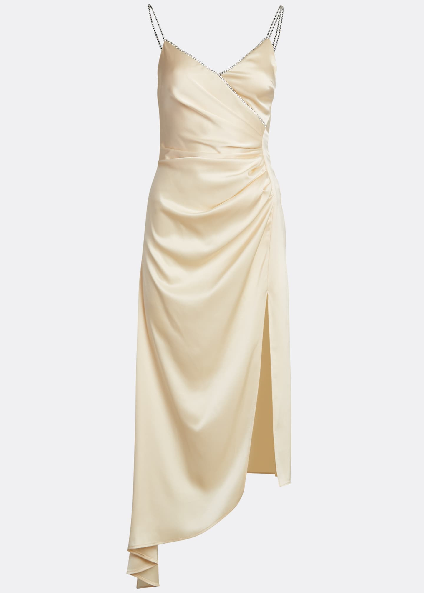 Image 5 of 5: Ruched Satin Asymmetric Dress