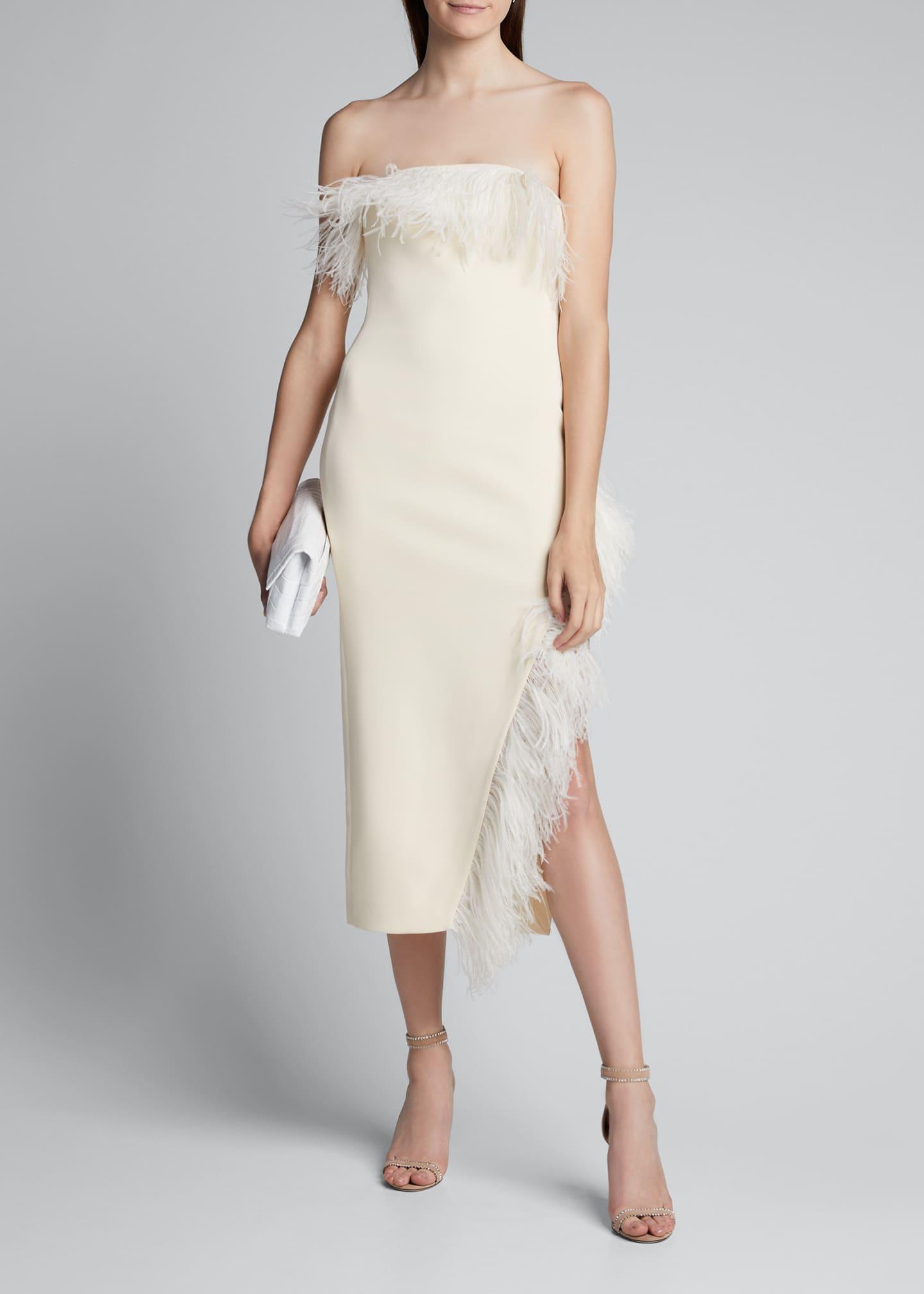 David Koma Strapless Feather-Trim Asymmetric-Hem Dress