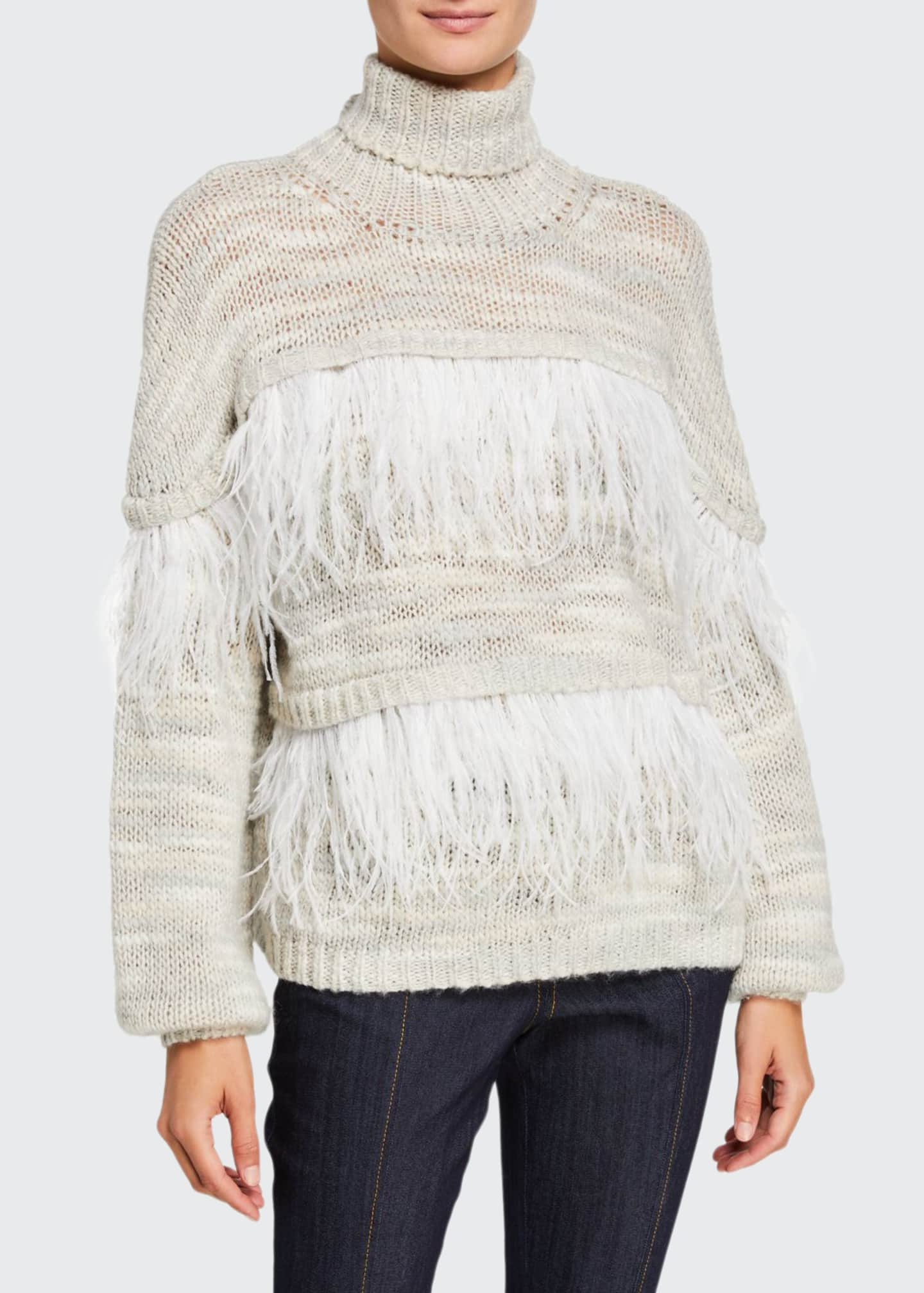 cinq a sept Valentina Turtleneck Sweater with Feathers