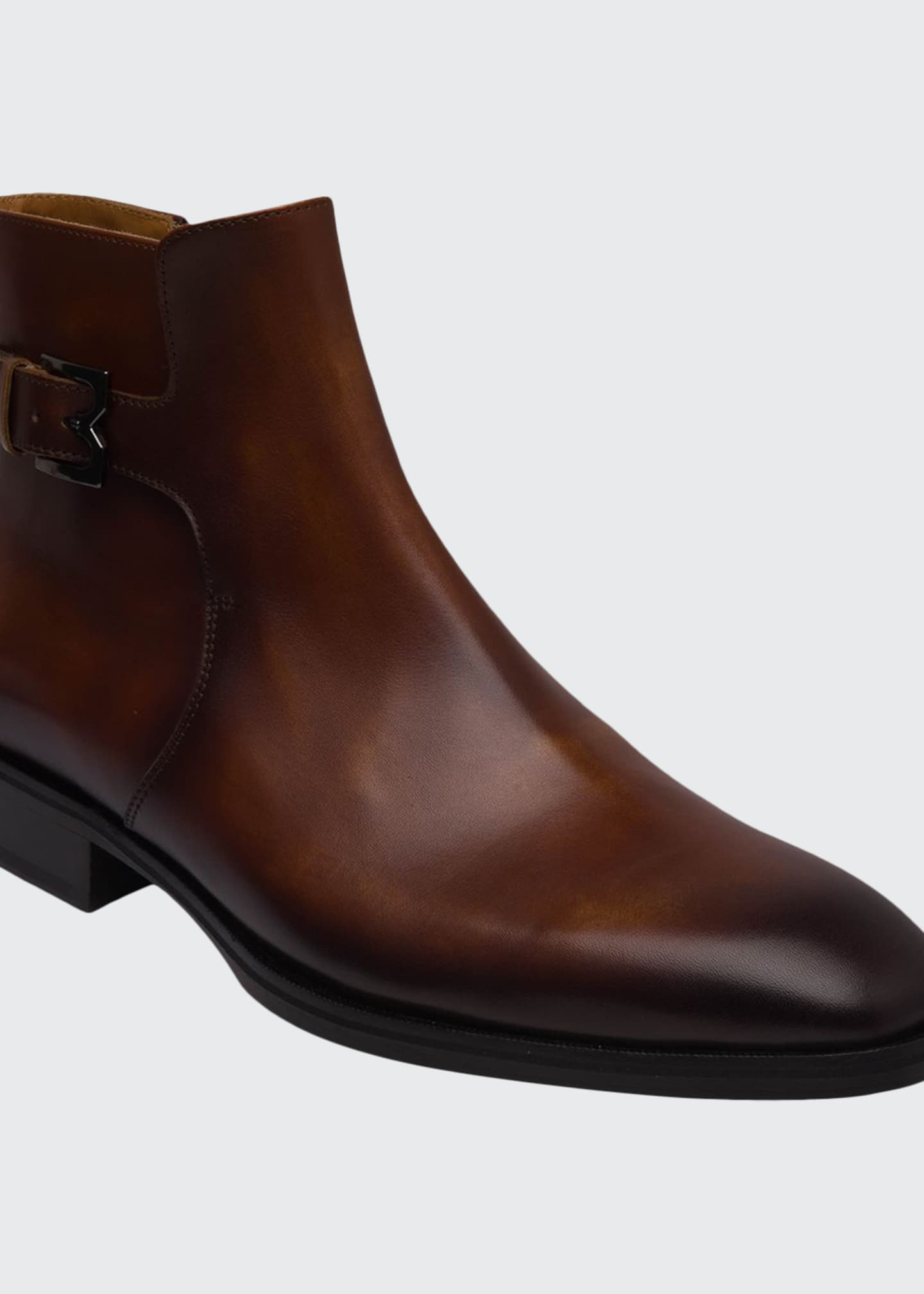 Bruno Magli Men's Angiolini M-Buckle Burnished Leather Ankle