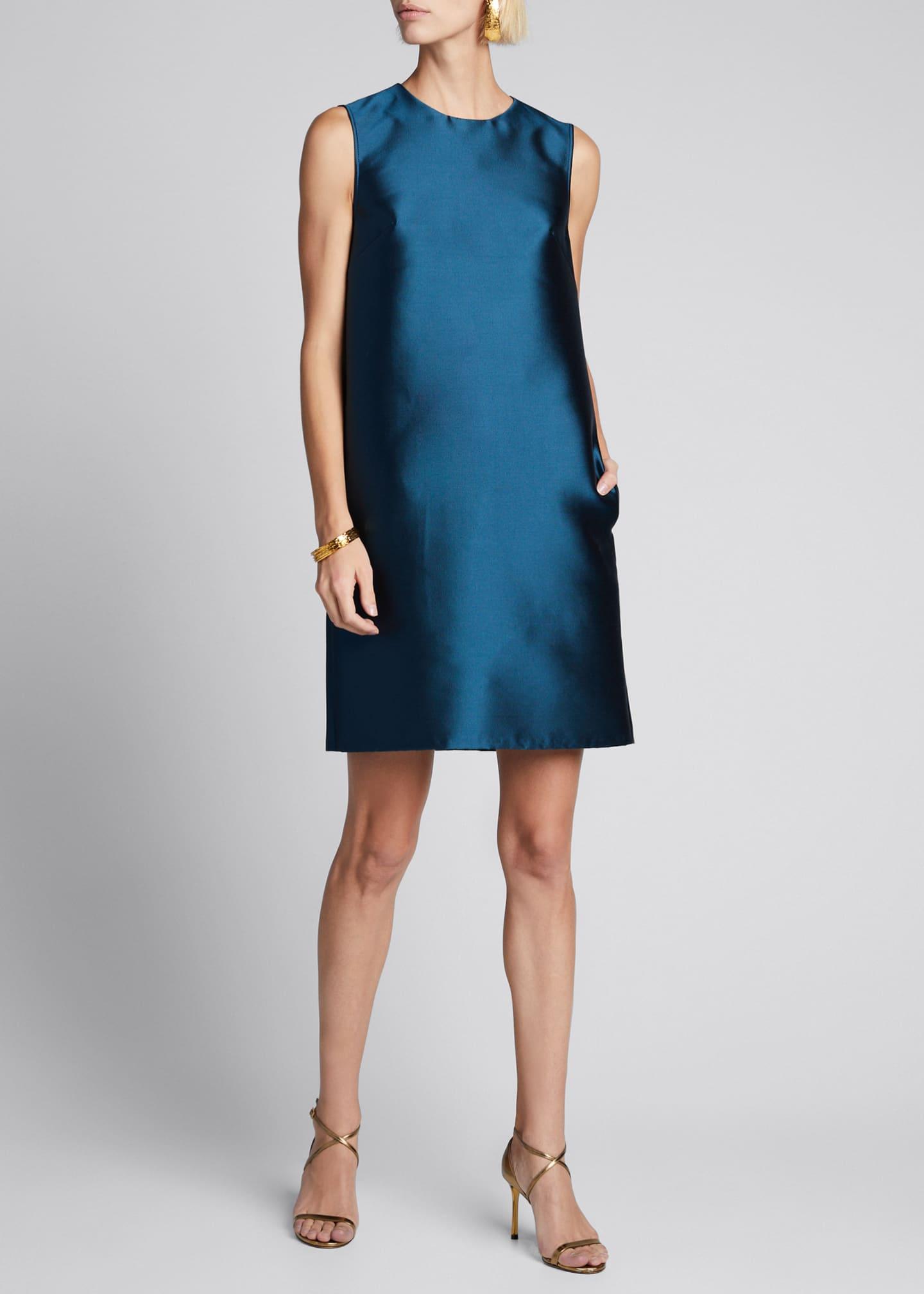 Carolina Herrera Silk Gazar Sleeveless Shift Dress