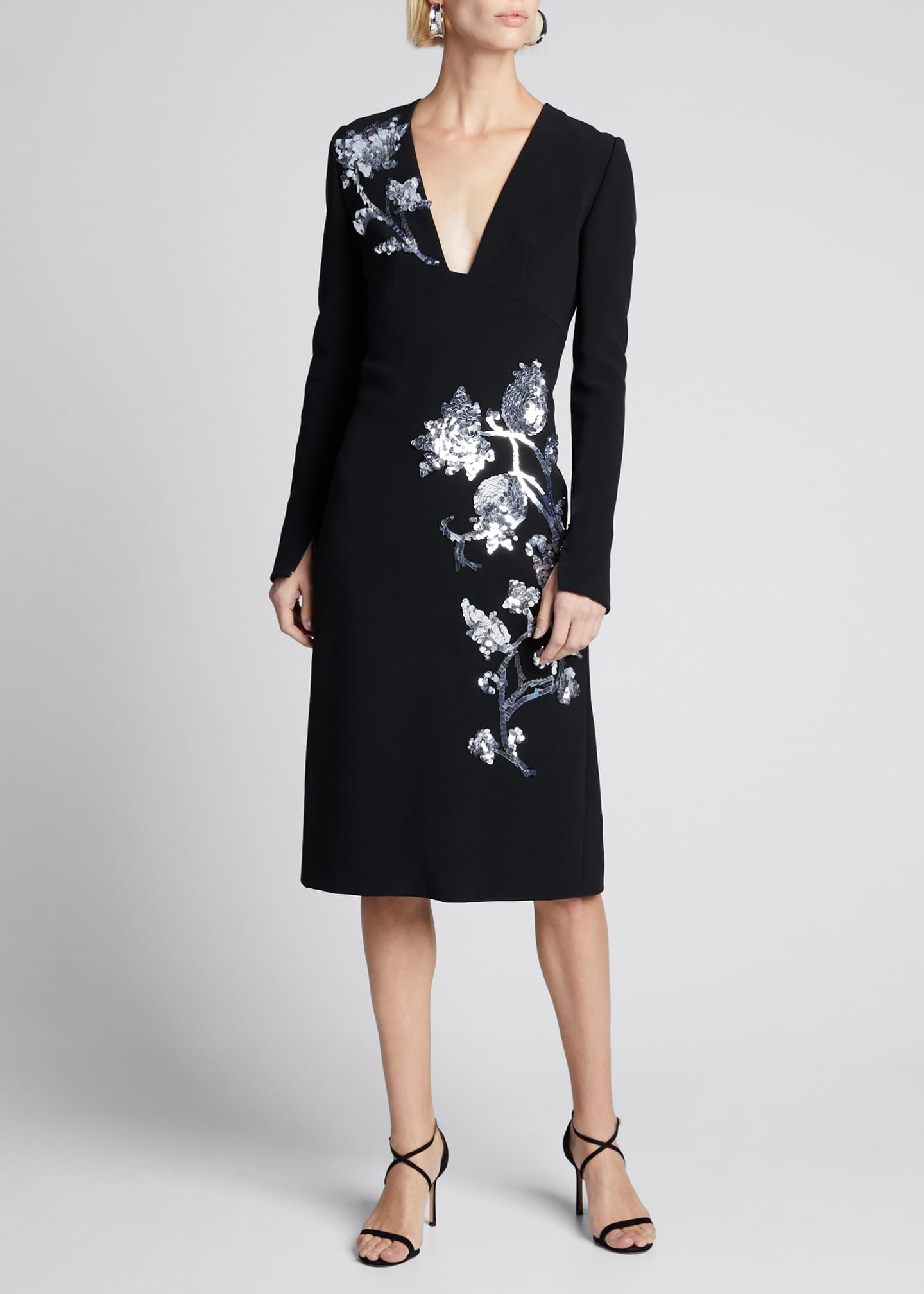 Carolina Herrera Sequin-Embroidered Deep-V Dress