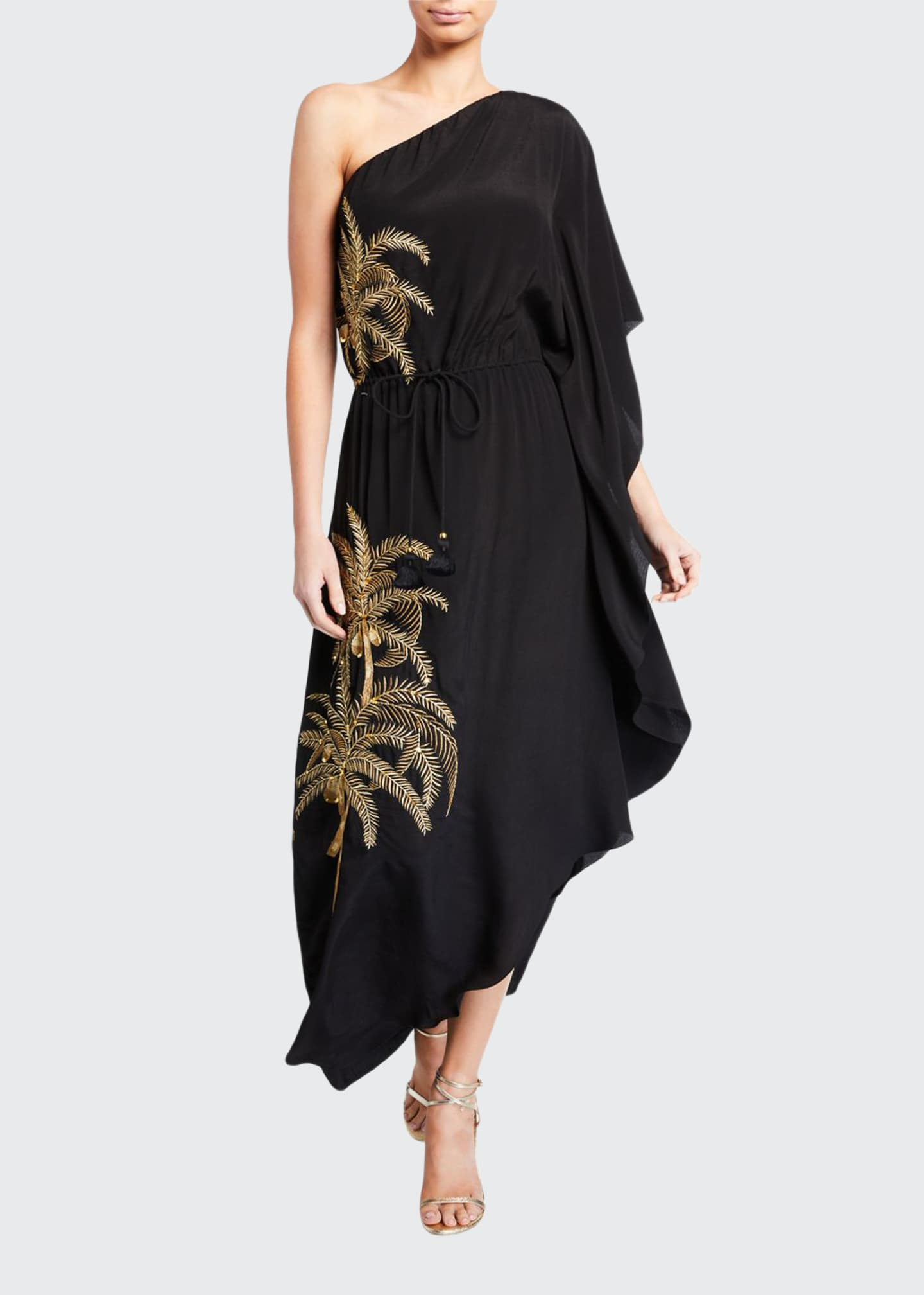 Figue Maisie One-Shoulder Palm-Embroidered Dress