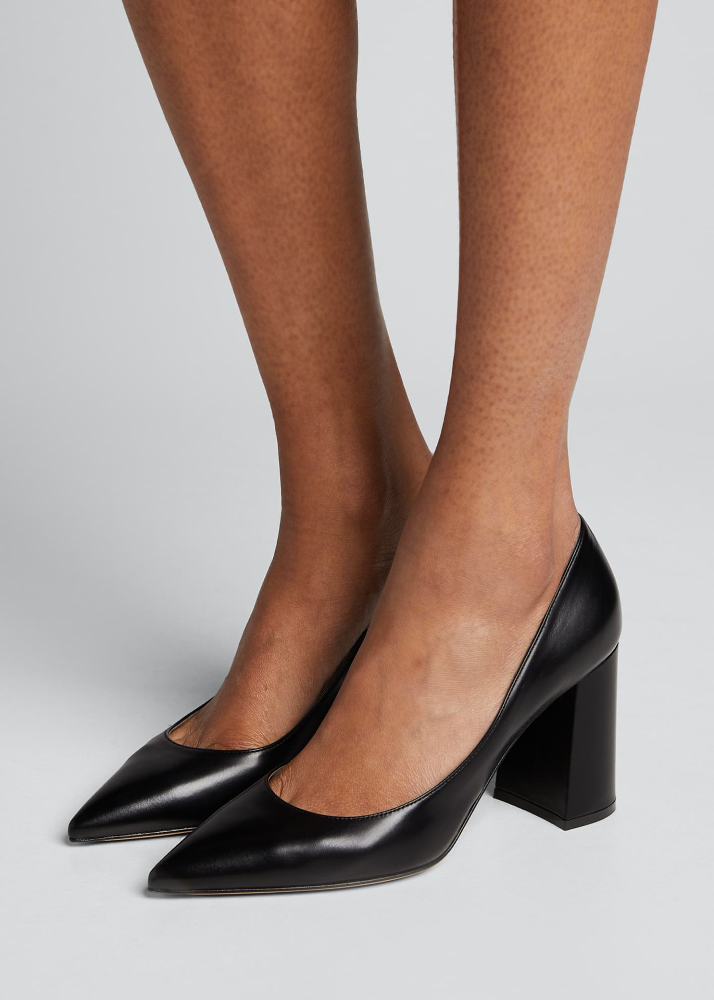 Image 2 of 5: Leather Block-Heel Pumps
