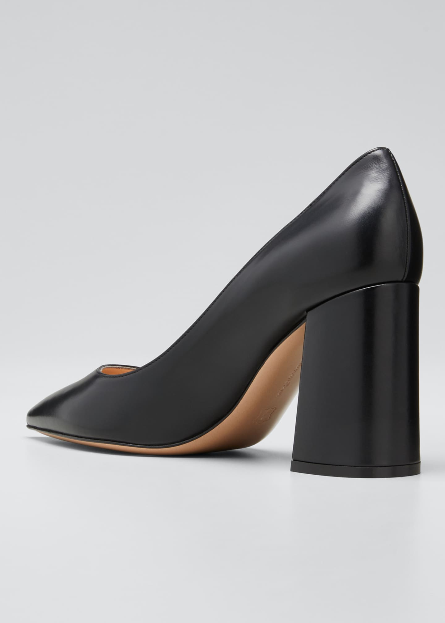 Image 4 of 5: Leather Block-Heel Pumps