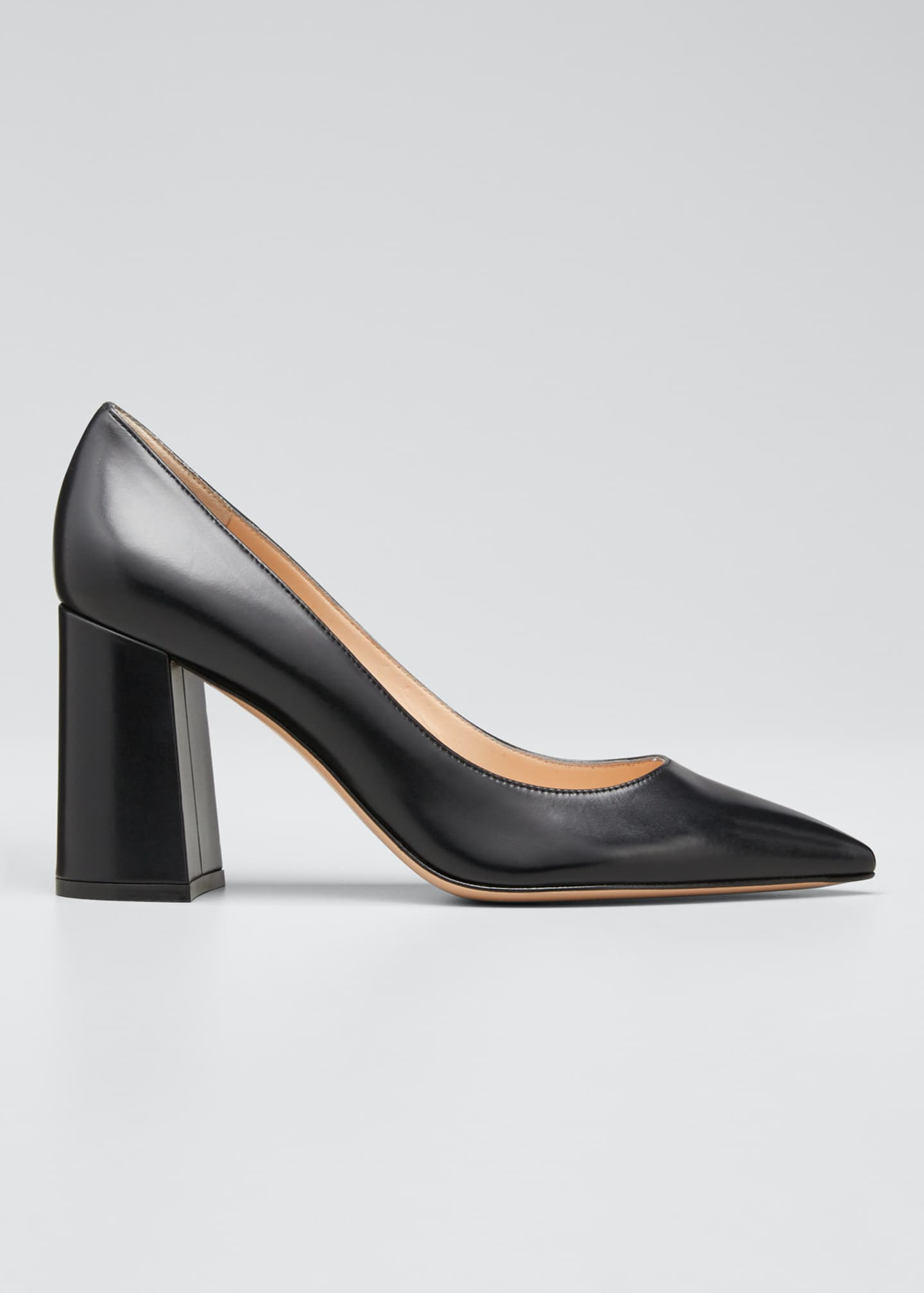 Image 1 of 5: Leather Block-Heel Pumps