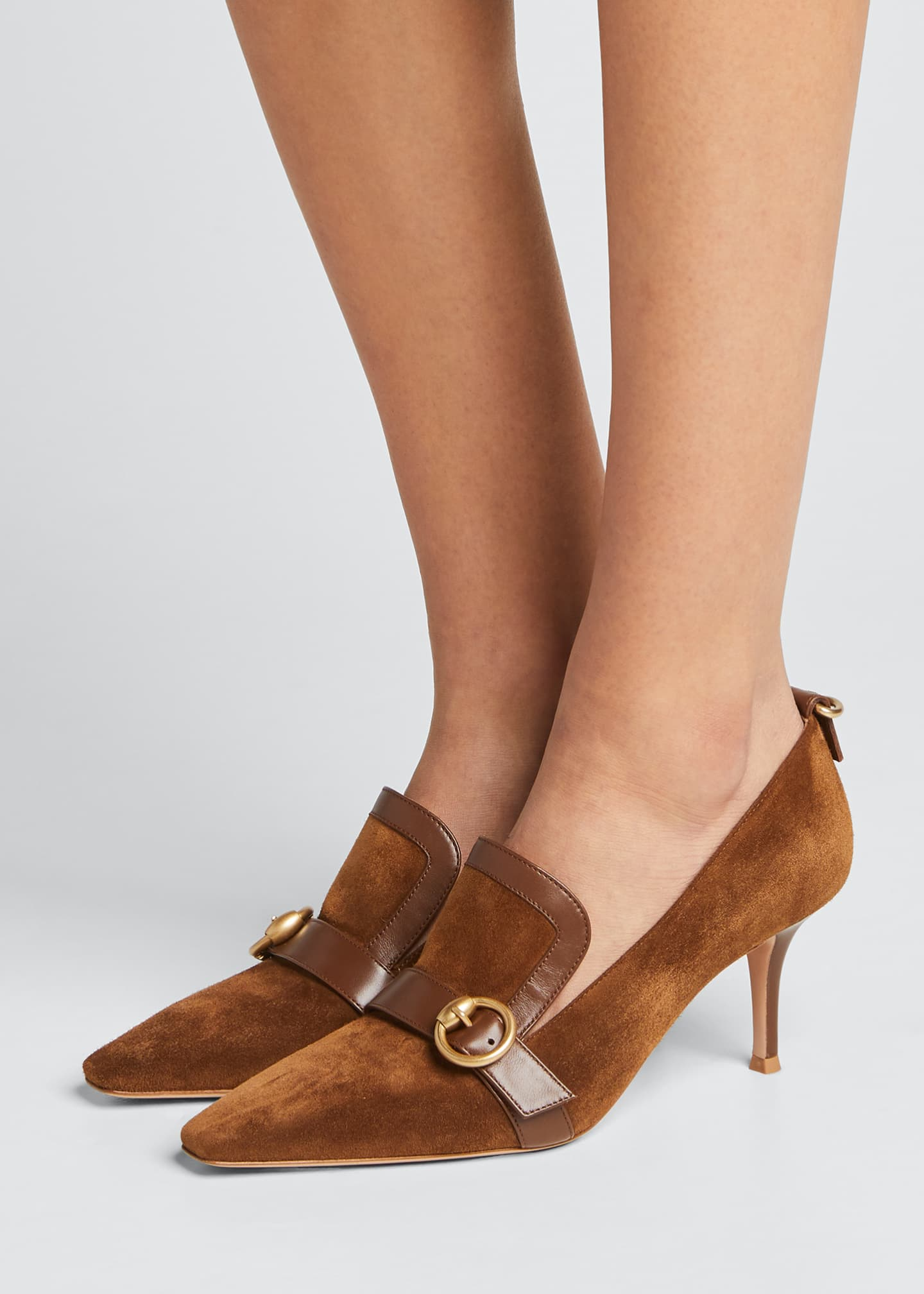 Image 2 of 5: Suede Leather-Buckle Loafer Pumps