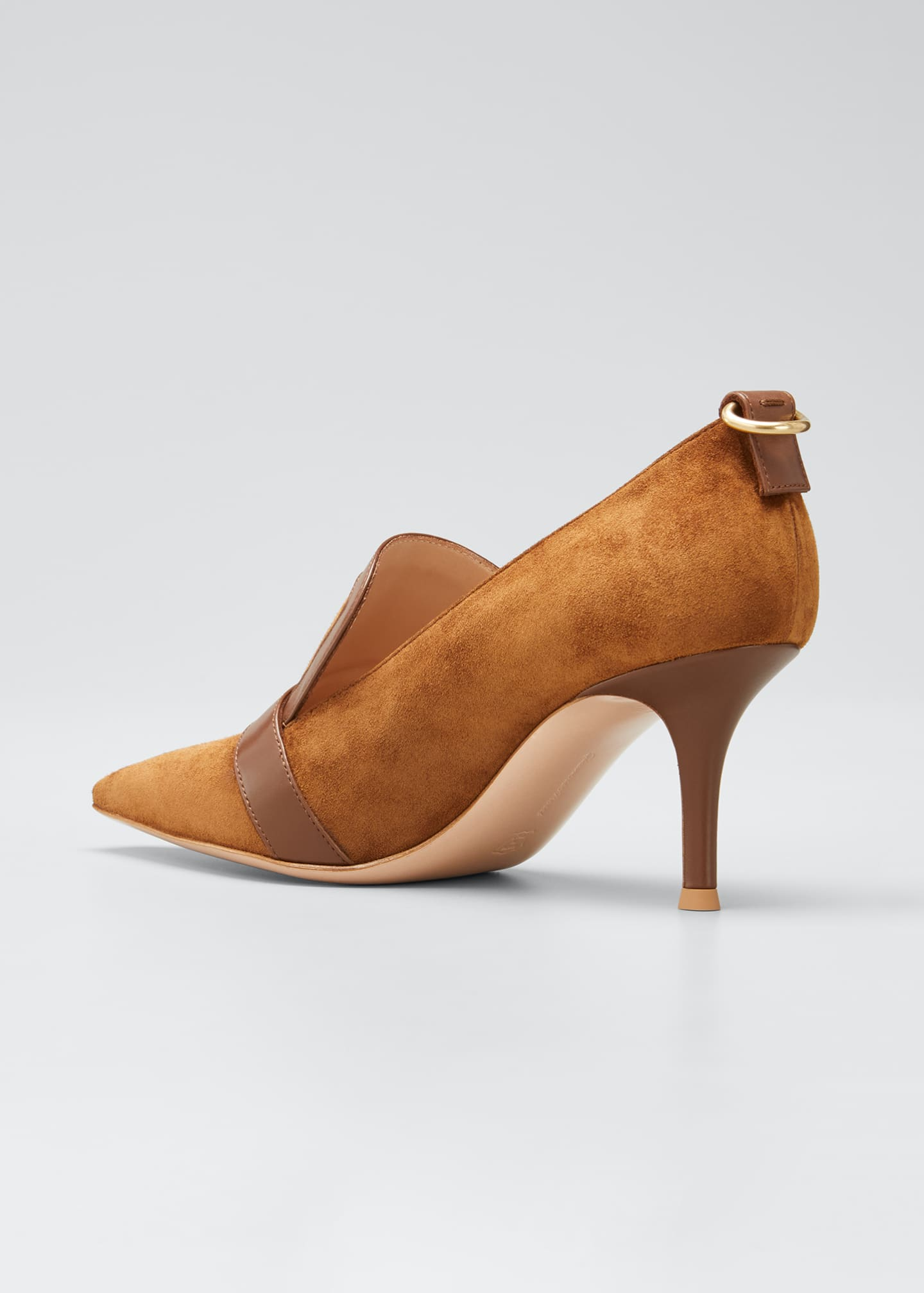 Image 4 of 5: Suede Leather-Buckle Loafer Pumps