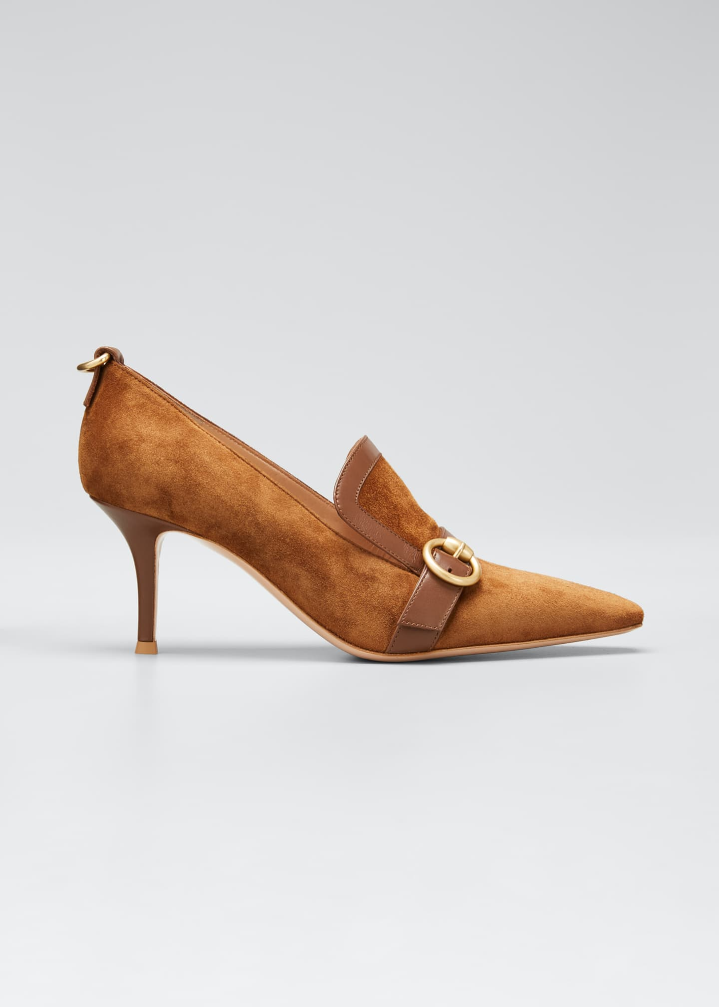 Image 1 of 5: Suede Leather-Buckle Loafer Pumps