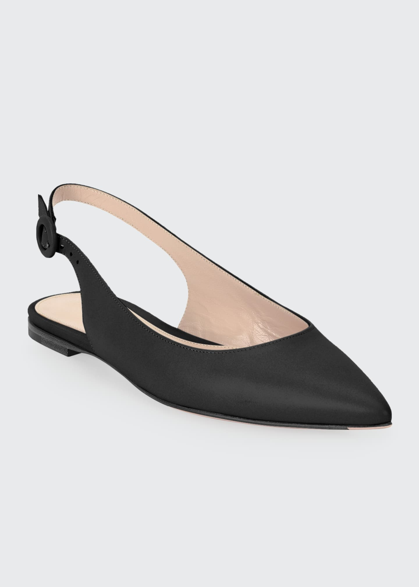Gianvito Rossi Leather Pointed-Toe Slingback Flats