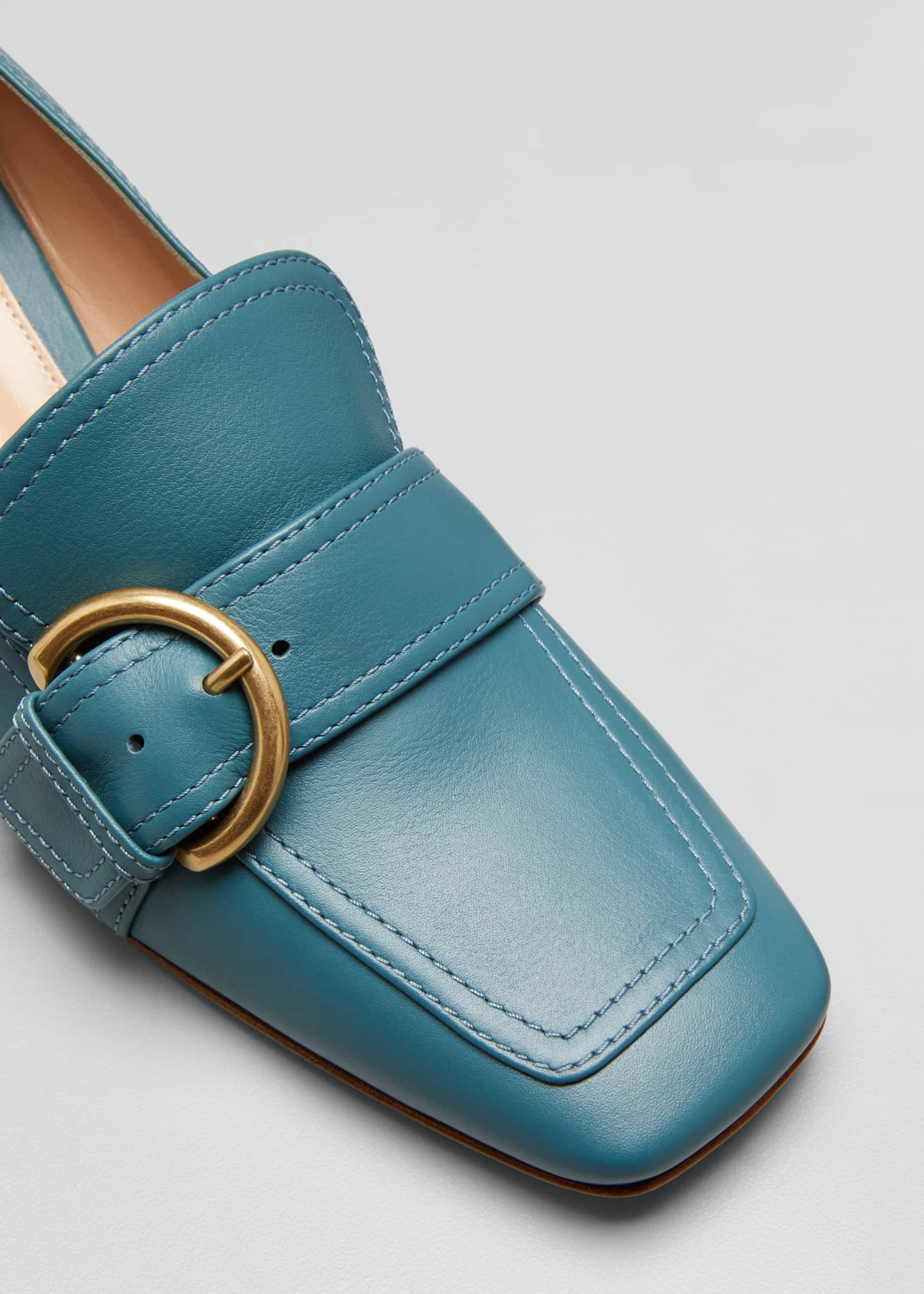 Image 5 of 5: 45 mm Square-Toe Leather Loafers