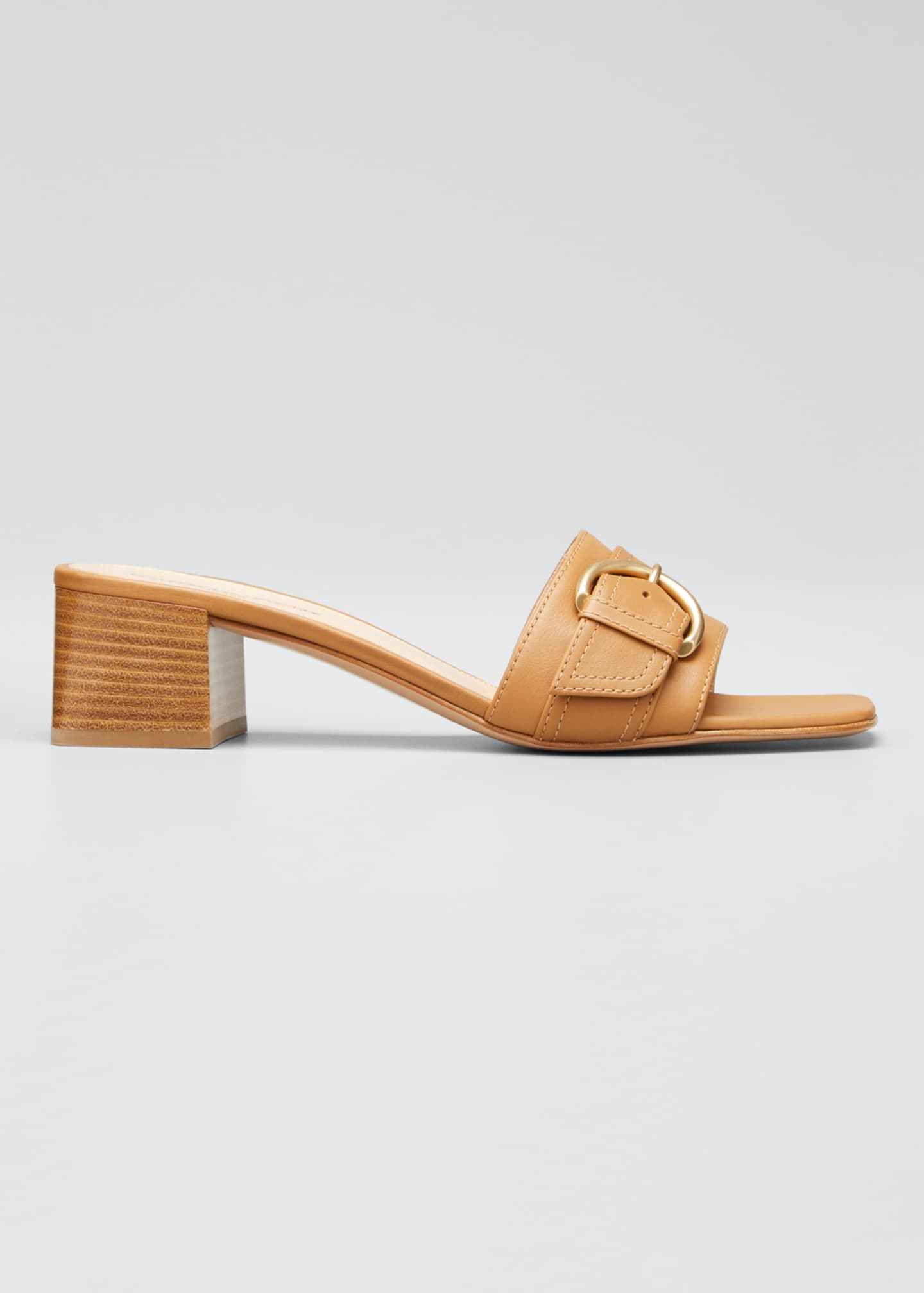 Gianvito Rossi Leather Buckle Mule Heeled Sandals
