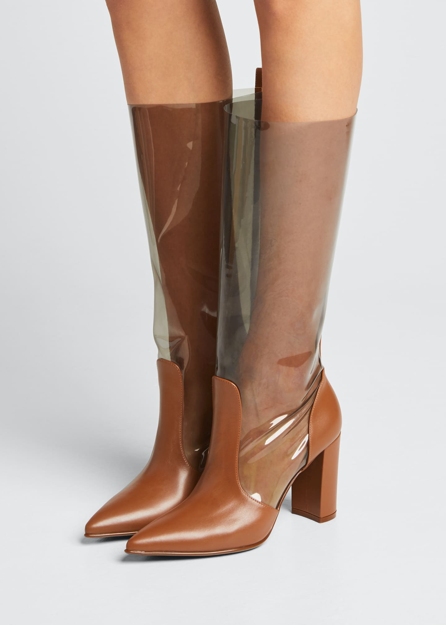 Image 2 of 5: 85mm Clear Leather Boots