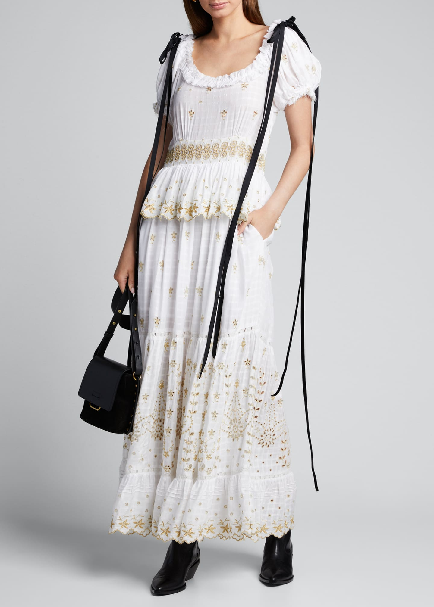 LoveShackFancy Kennedy Embroidered Shoulder-Tie Maxi Dress