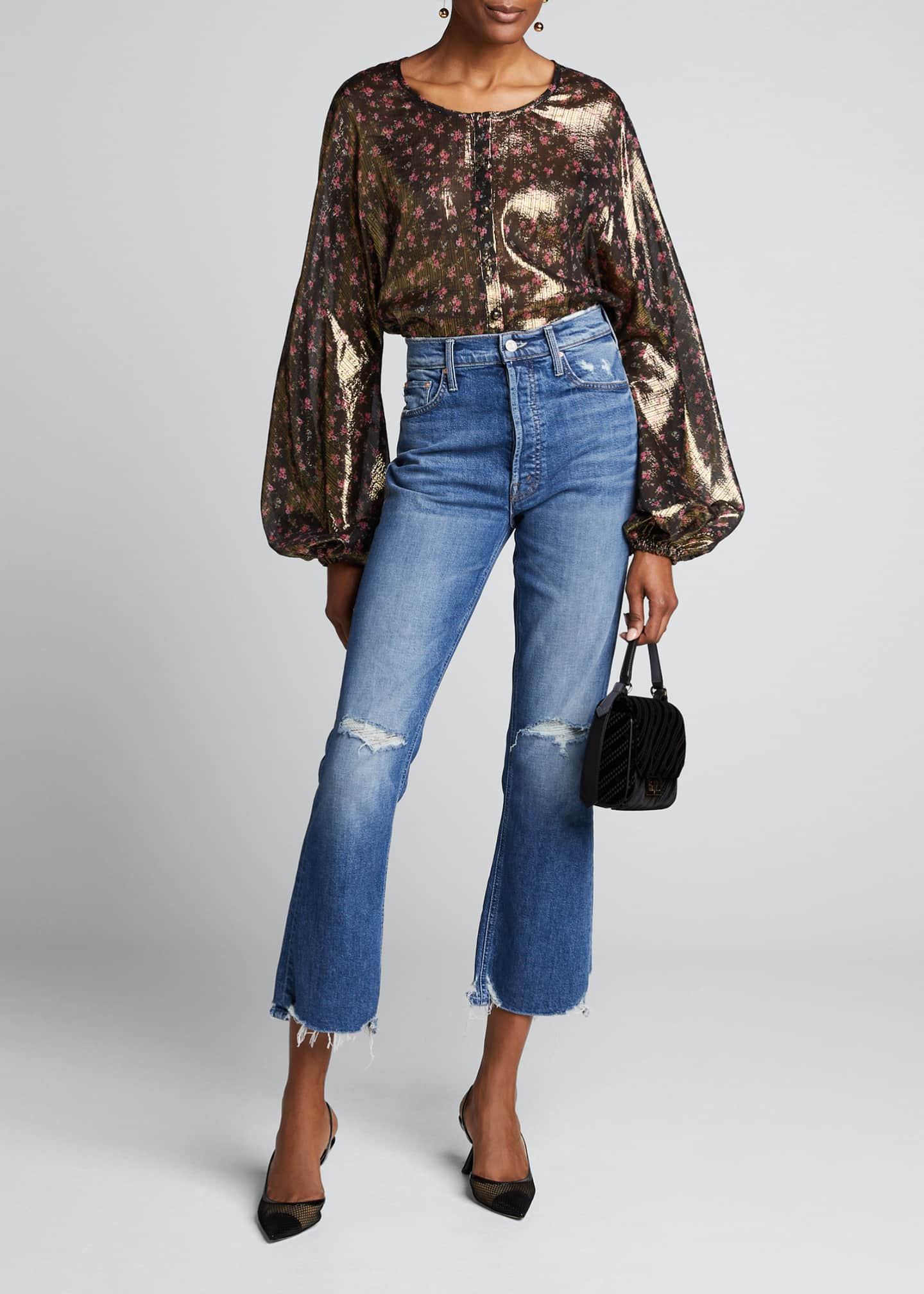 LoveShackFancy Adeline Floral Print Metallic-Silk Puff-Sleeve Top