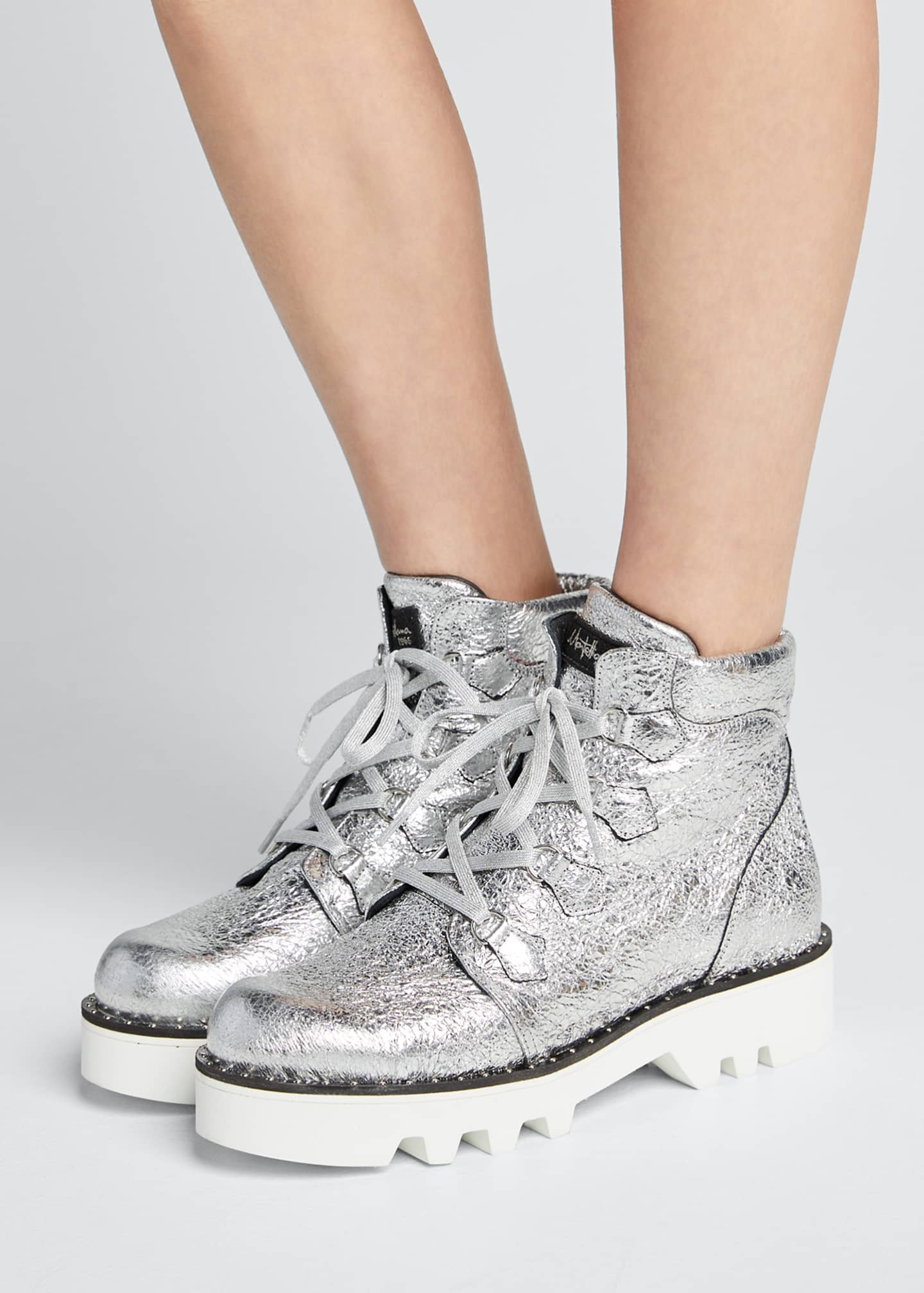 Image 2 of 5: Claudine Crinkled Metallic Lace-Up Boots