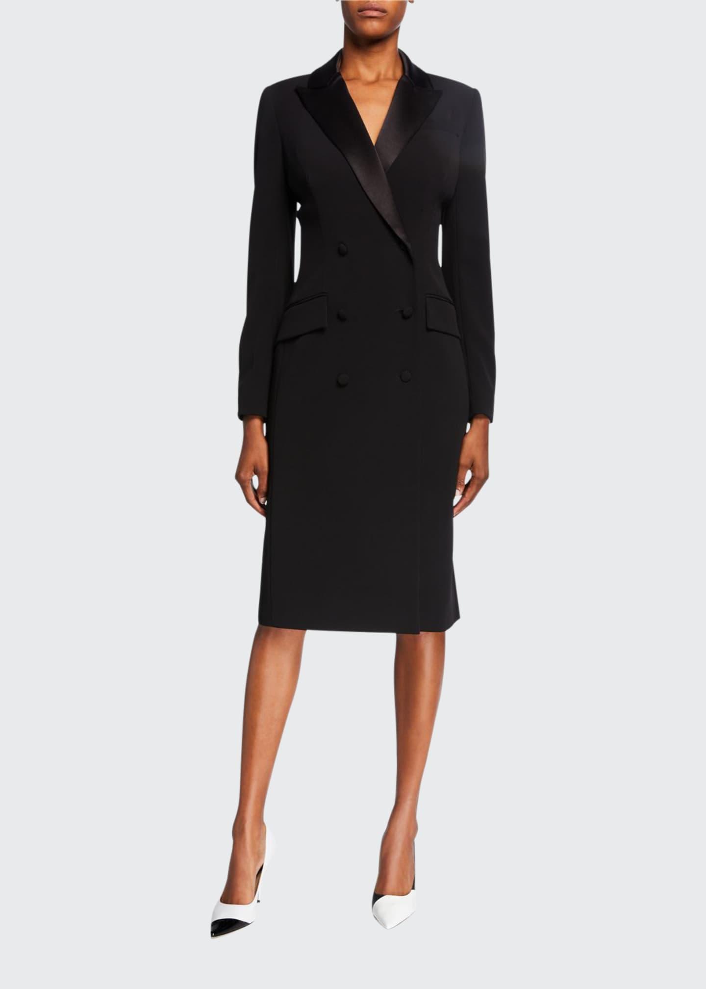 Double Breasted Tuxedo Coat Dress by Rickie Freeman For Teri Jon