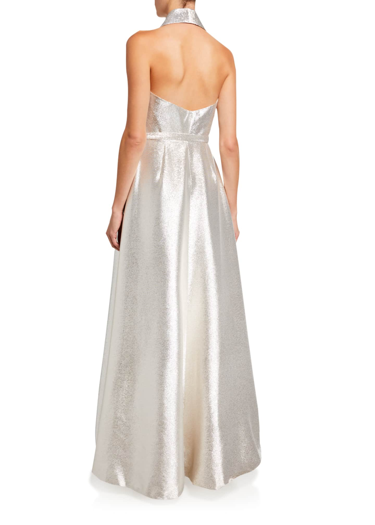 Image 2 of 2: Metallic A-Line Halter Gown