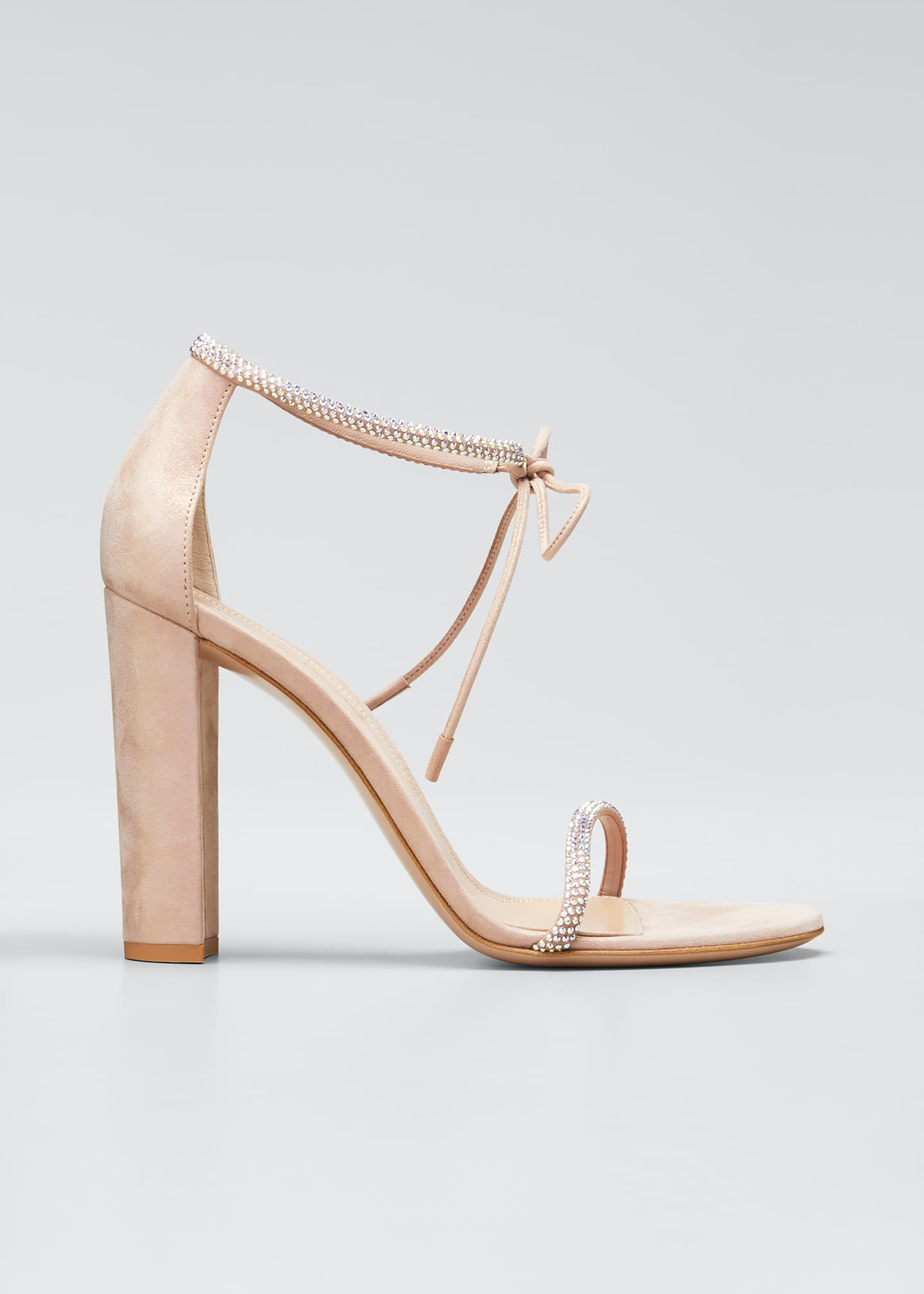 Image 1 of 5: 105mm Crystal Stud Ankle-Tie Sandals