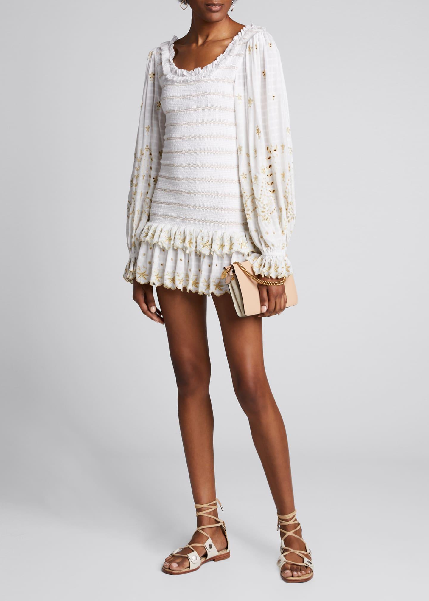 LoveShackFancy Celia Embroidered Blouson-Sleeve Mini Dress