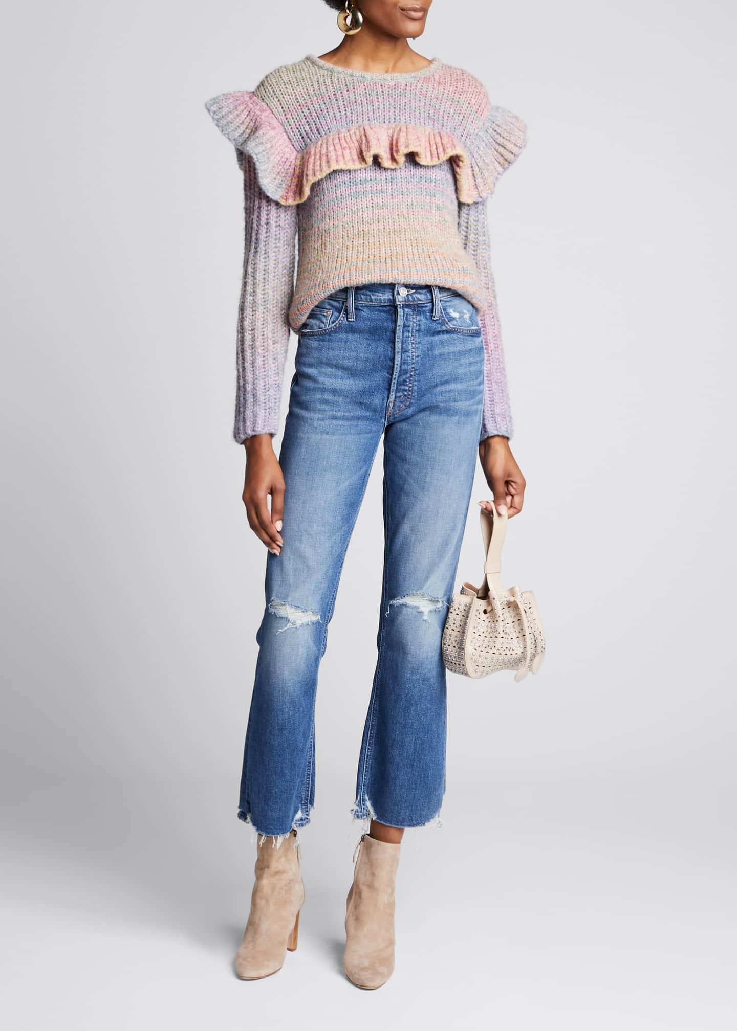 LoveShackFancy Yumi Ruffle Long-Sleeve Pullover Sweater