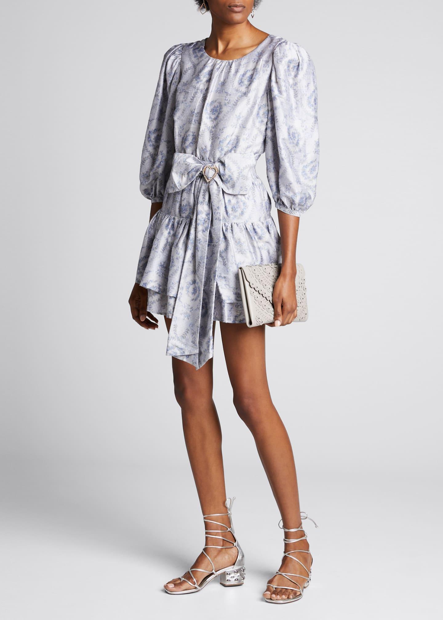 LoveShackFancy Pearla Belted Blouson-Sleeve Tiered Dress