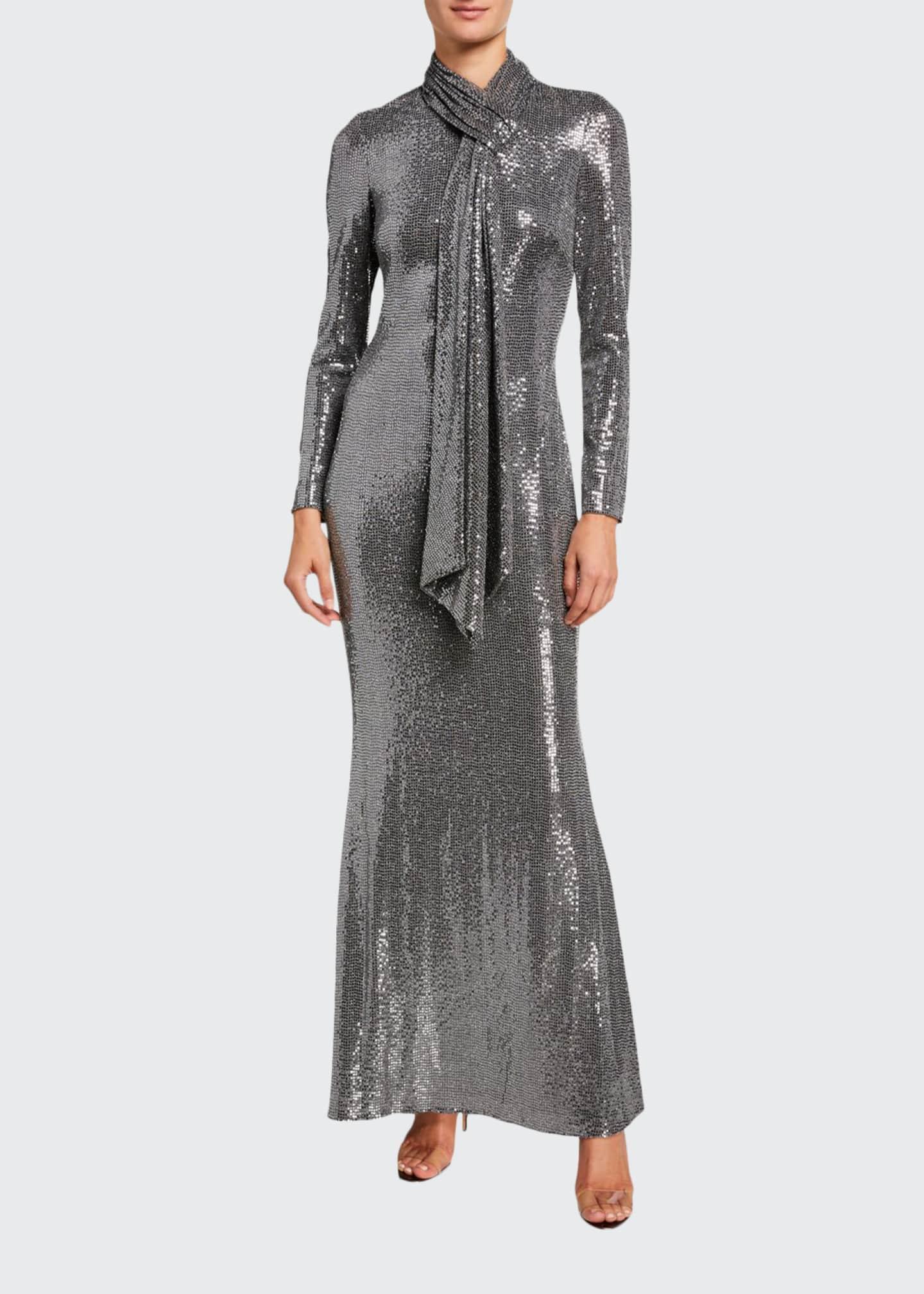 Badgley Mischka Collection Sequin Tie-Neck Long-Sleeve Gown
