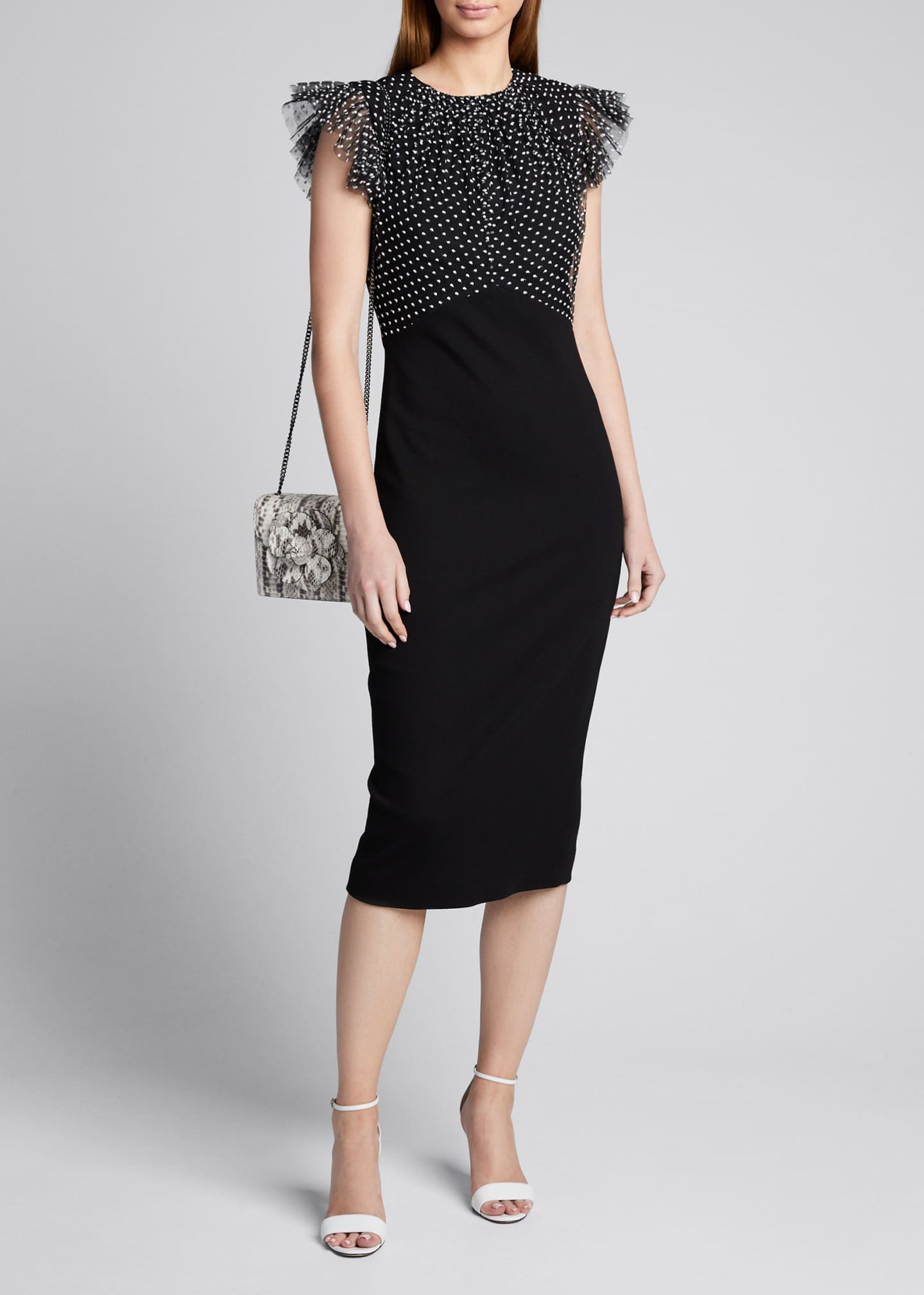 Jason Wu Collection Ruched Polka-Dot Lace Stretch Ponte