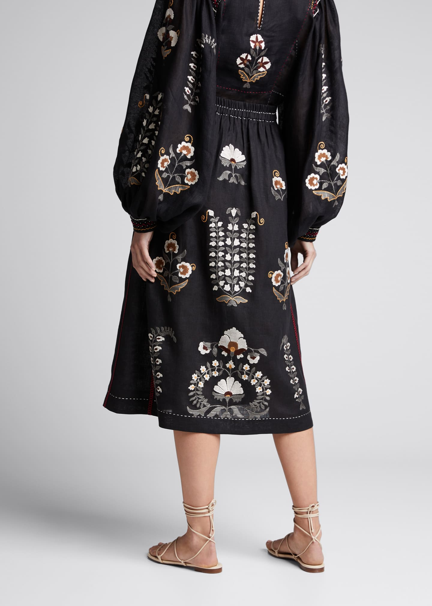 Image 2 of 4: Patchouli Embroidered Midi Skirt