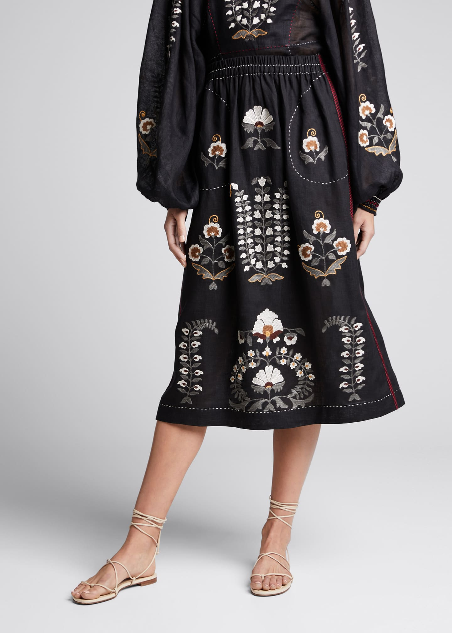 Image 3 of 4: Patchouli Embroidered Midi Skirt