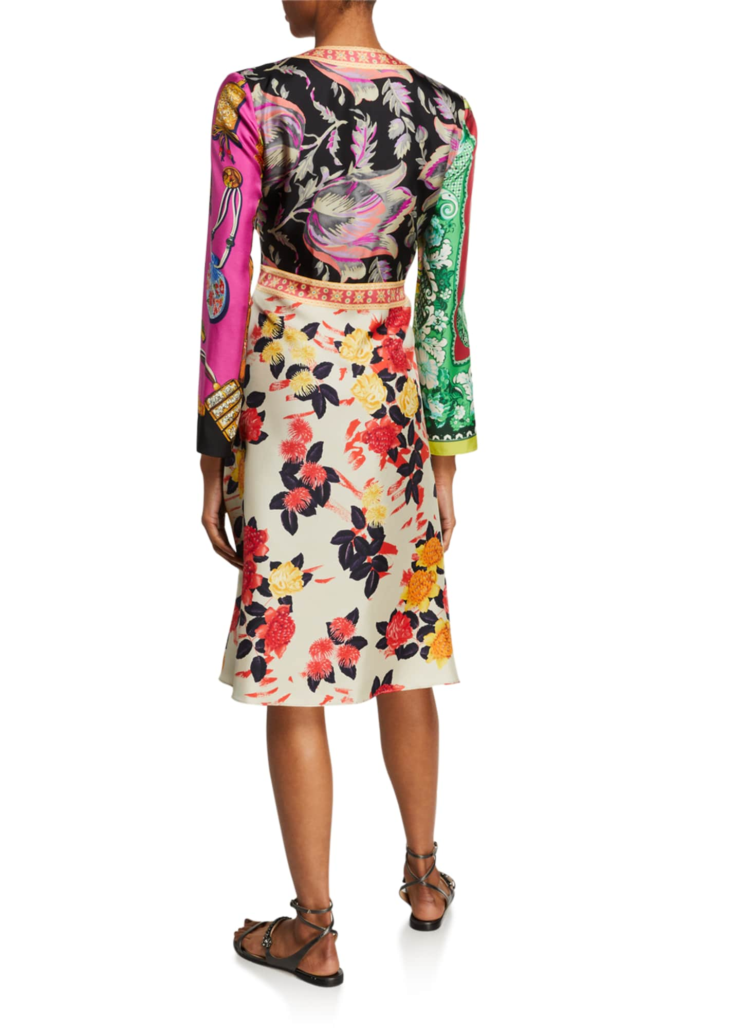 Image 2 of 2: Floral-Patchwork-Print Silk Dress