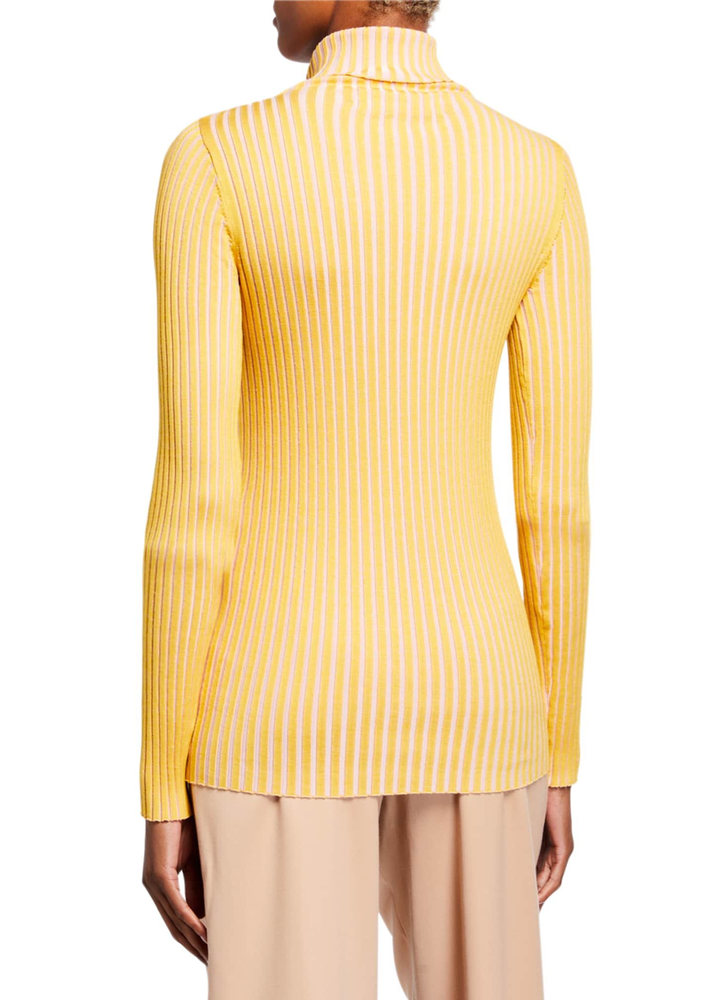 Image 2 of 2: Silk Striped Turtleneck Sweater