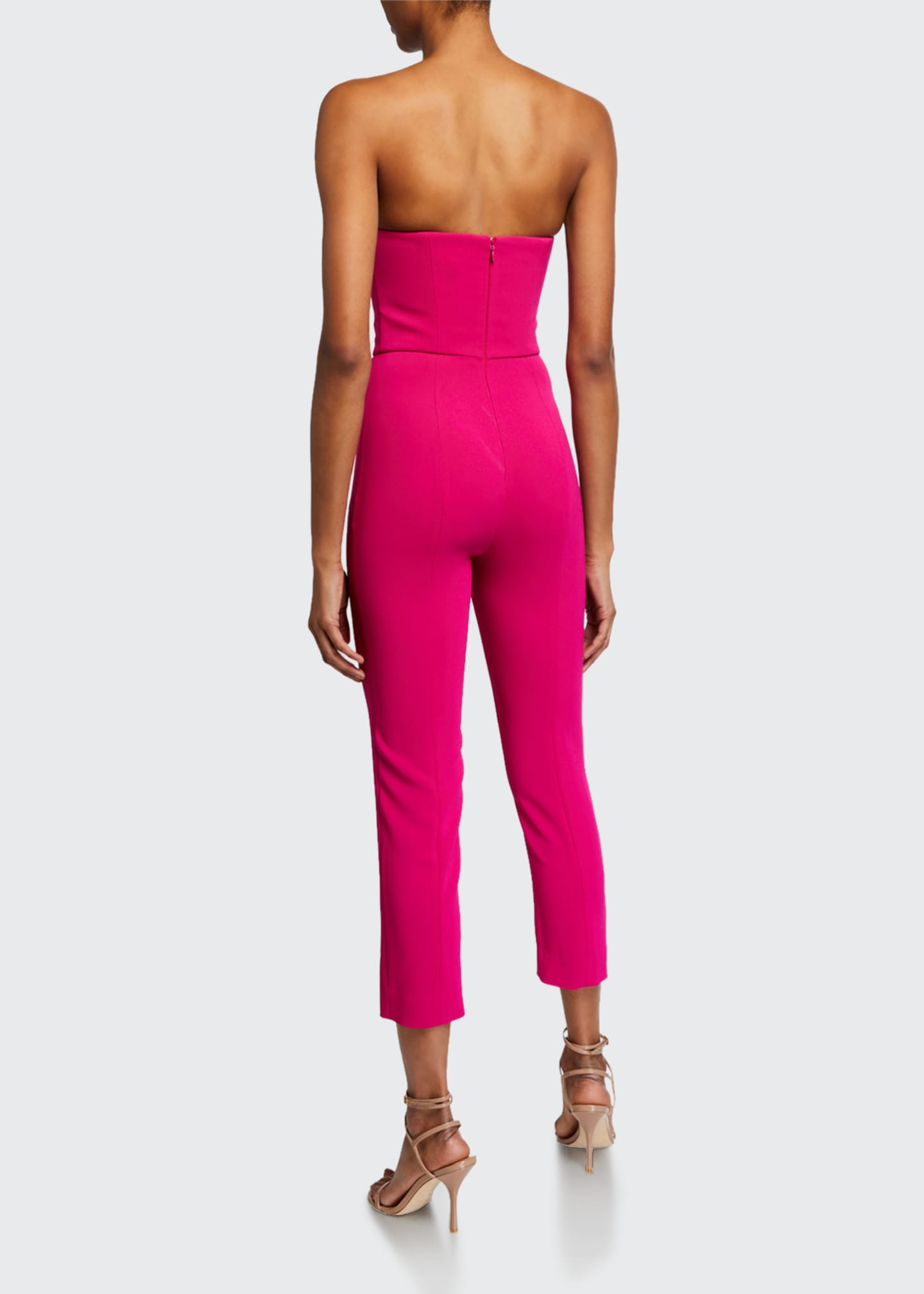 Image 2 of 2: Silk Strapless Fitted Crop Jumpsuit