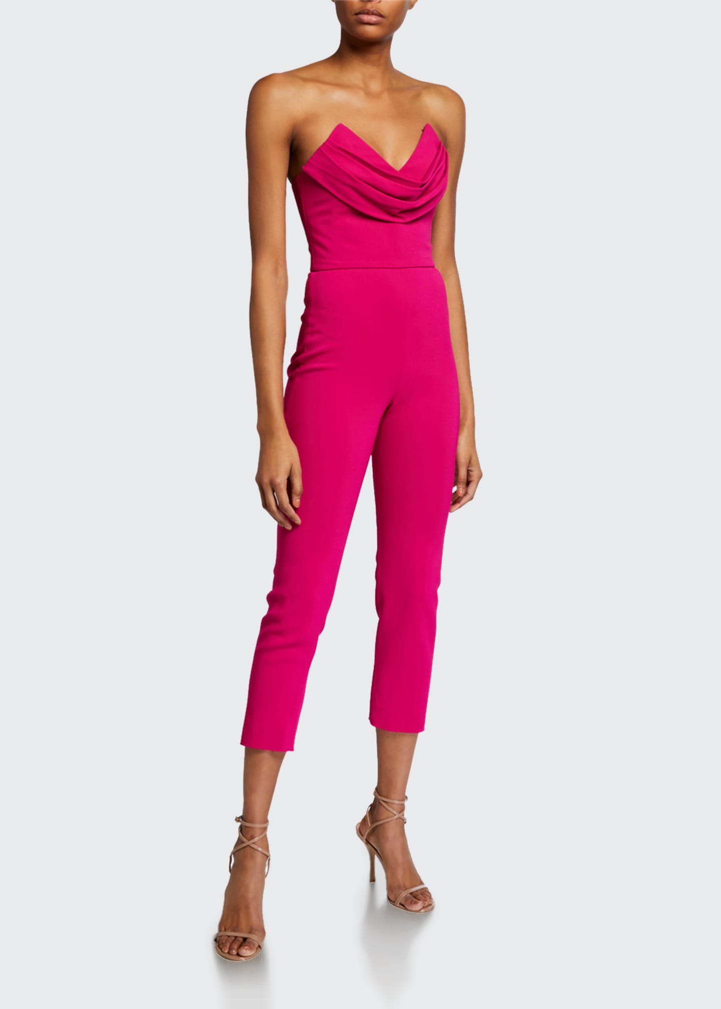 Image 1 of 2: Silk Strapless Fitted Crop Jumpsuit