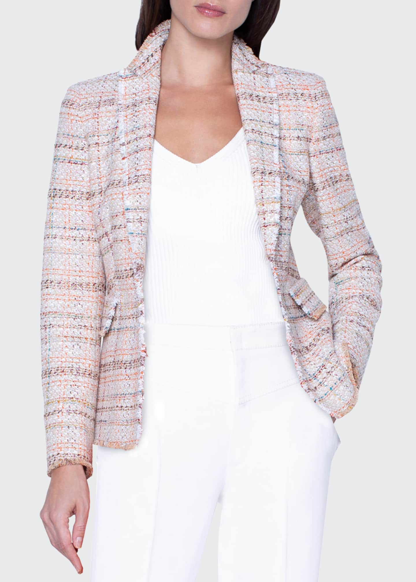 Image 1 of 3: Checked Tweed Faux Double-Breasted Jacket