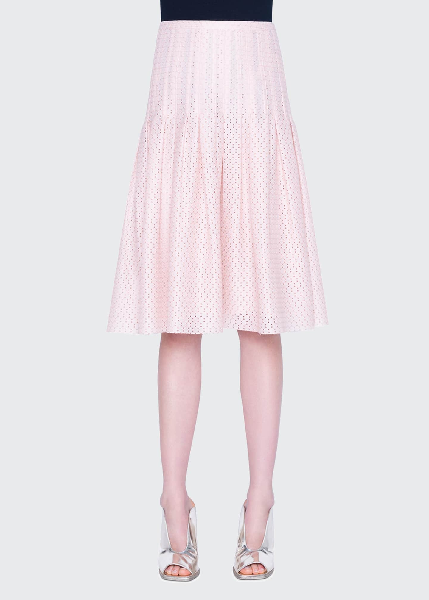 Image 1 of 2: Tiered Eyelet Lace Midi Skirt