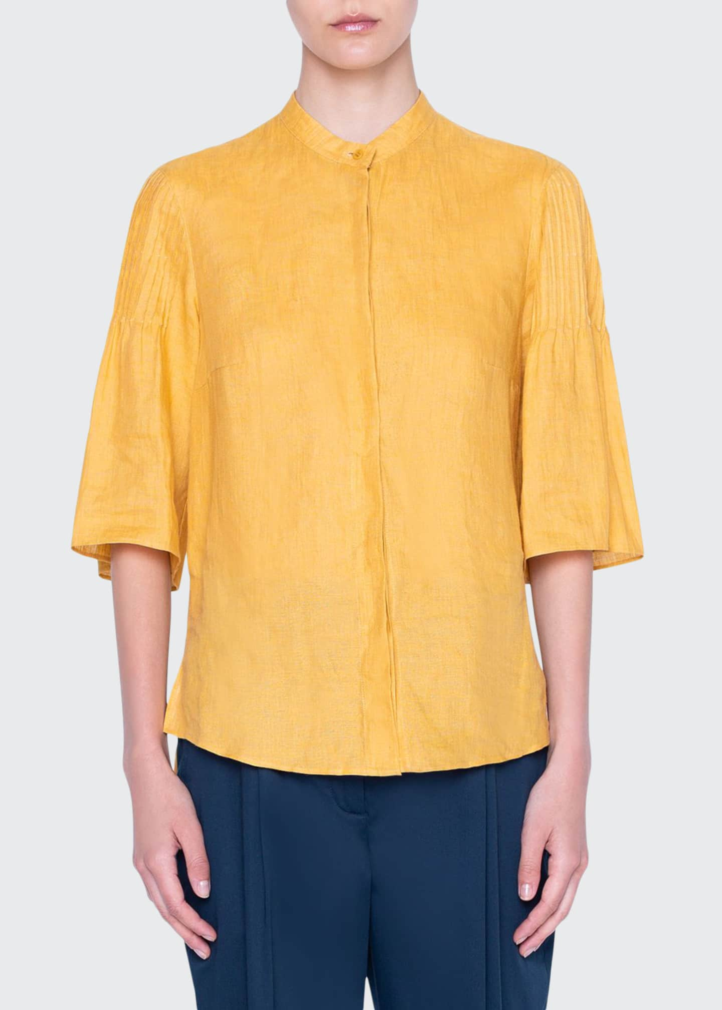 Akris punto Washed Linen Bell-Sleeve Shirt