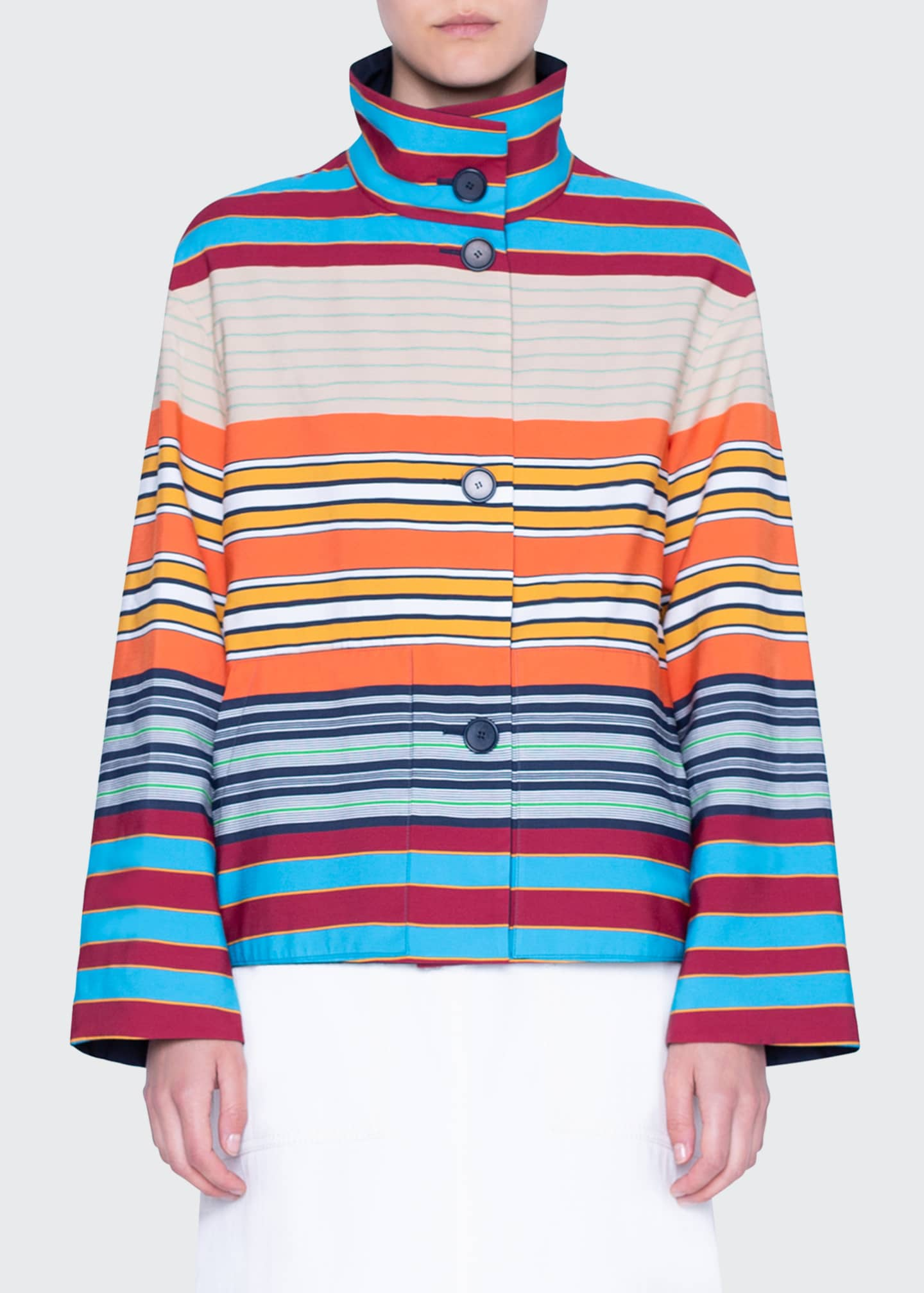 Image 4 of 4: Striped Cotton Reversible Jacket