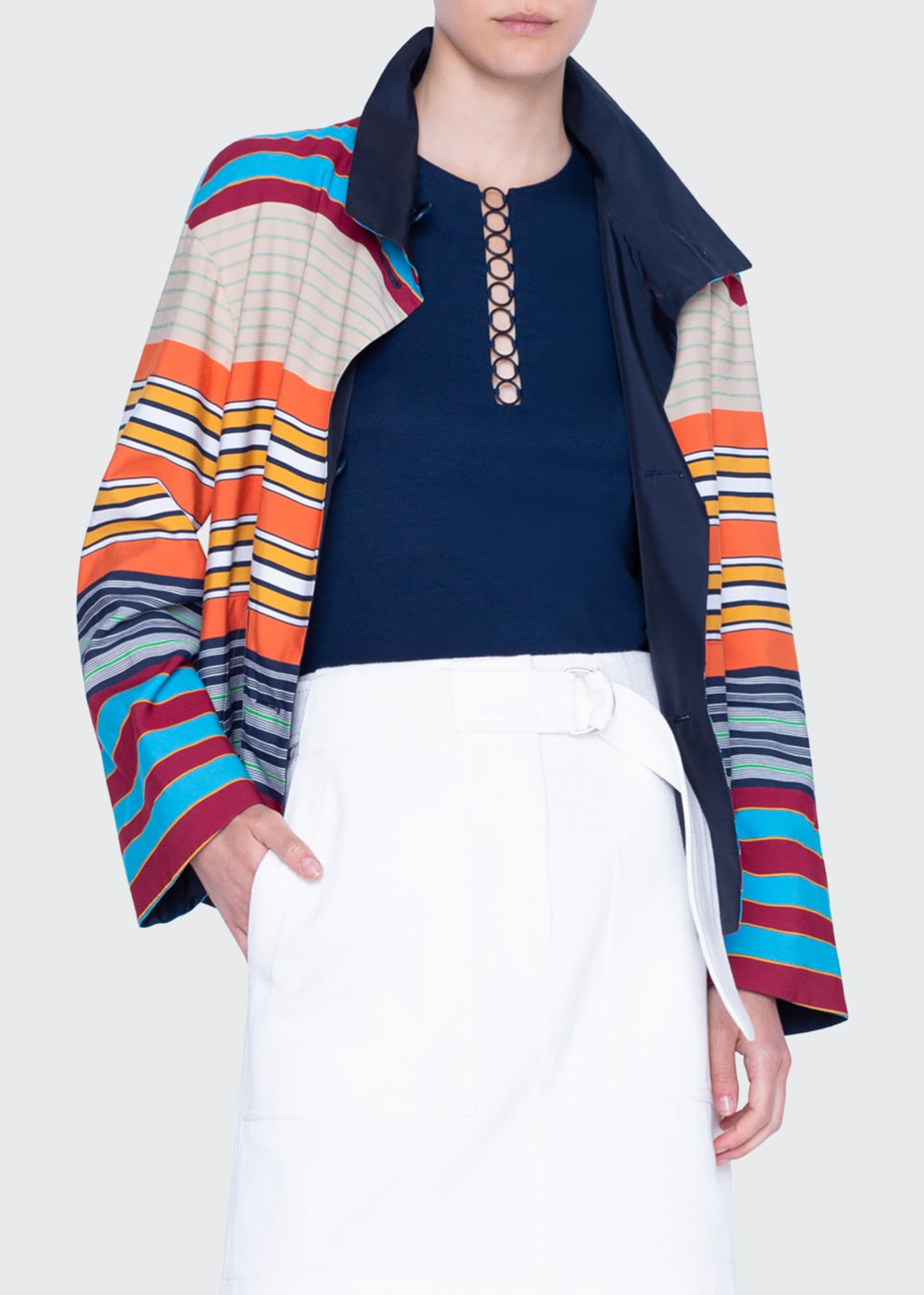 Image 1 of 4: Striped Cotton Reversible Jacket