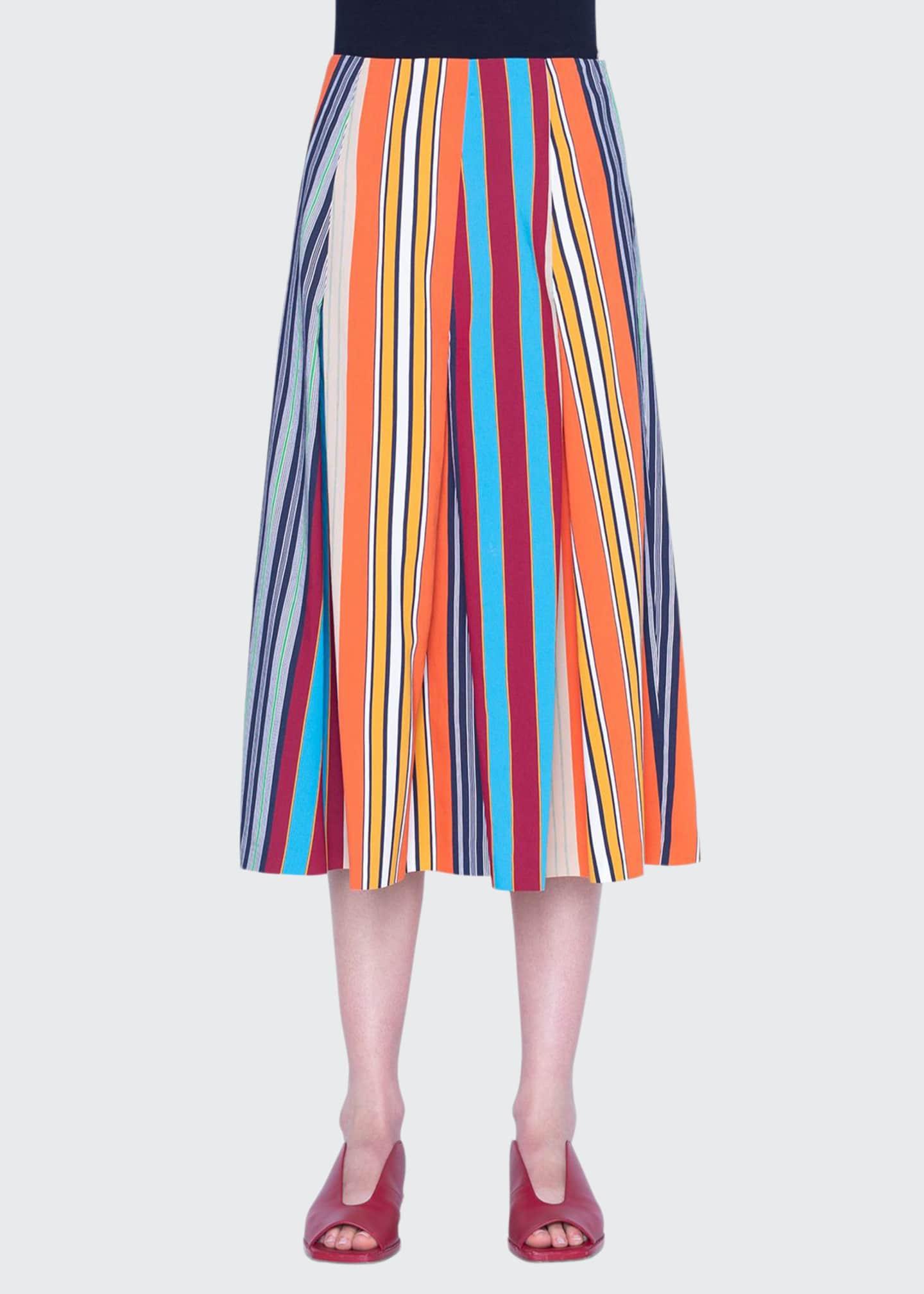 Akris punto Parasol Striped Cotton Midi Skirt