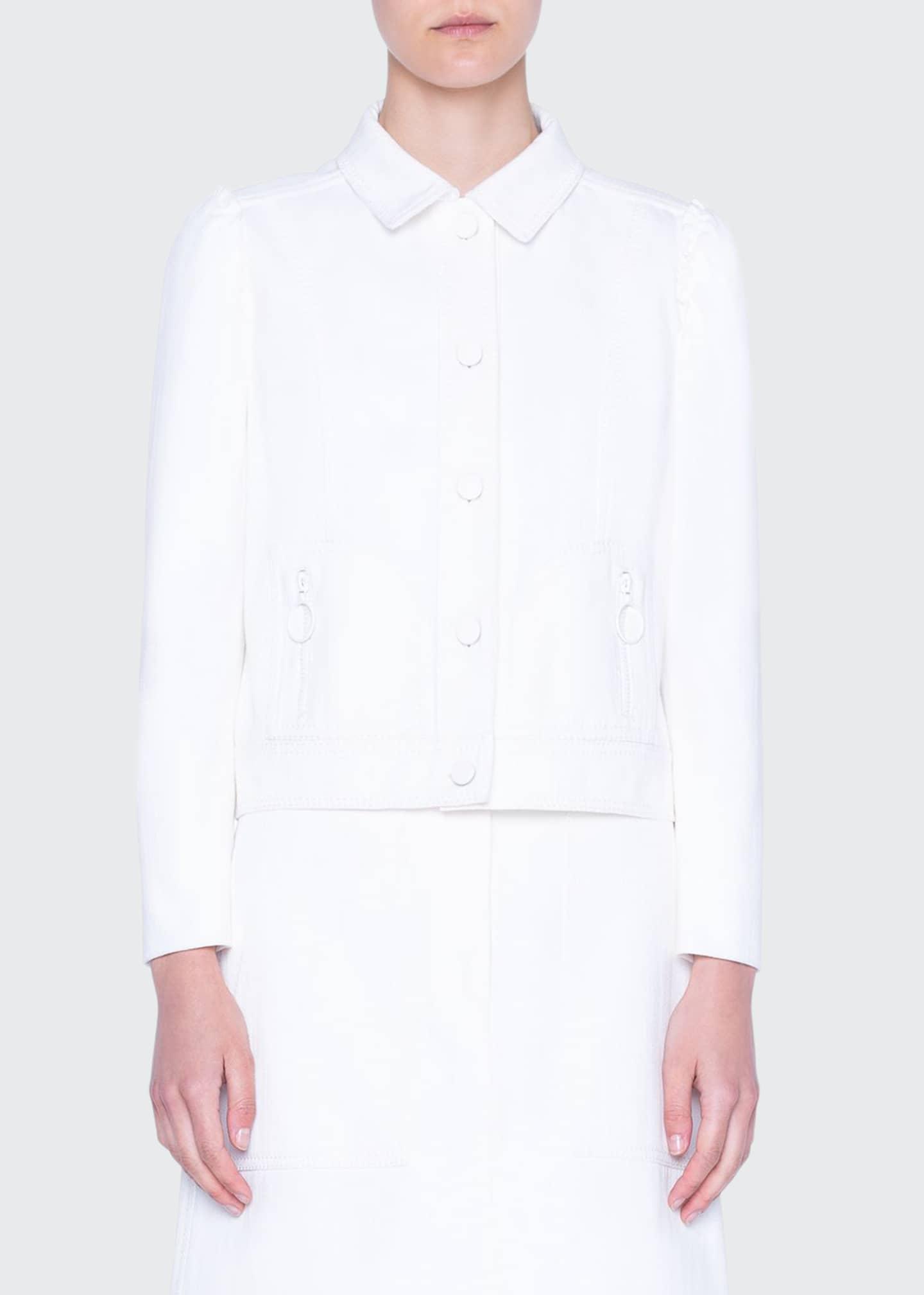 Akris punto Stretch Denim Puff-Sleeve Jacket