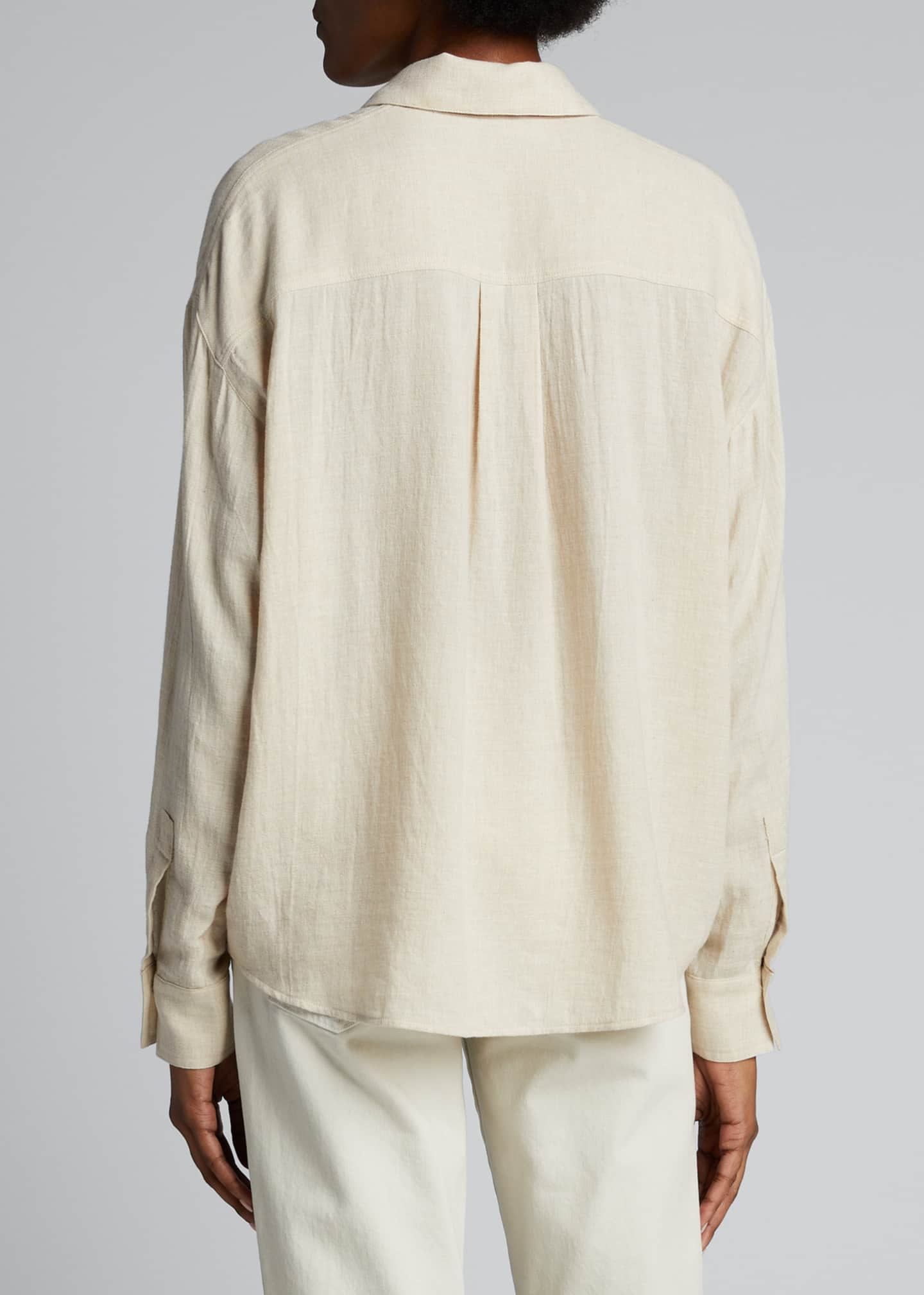 Image 2 of 5: Boxy Long-Sleeve Button-Down Top