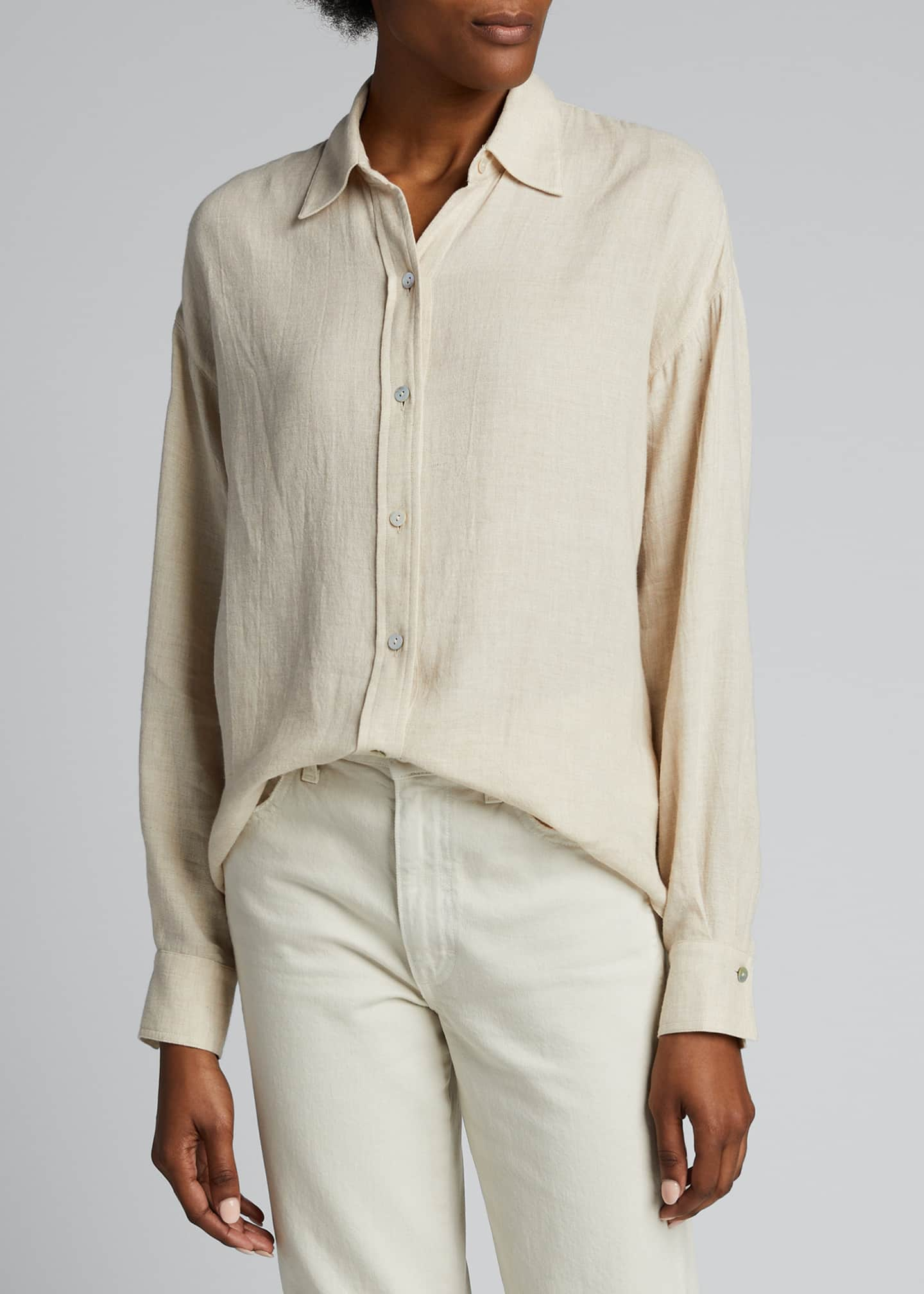 Image 3 of 5: Boxy Long-Sleeve Button-Down Top