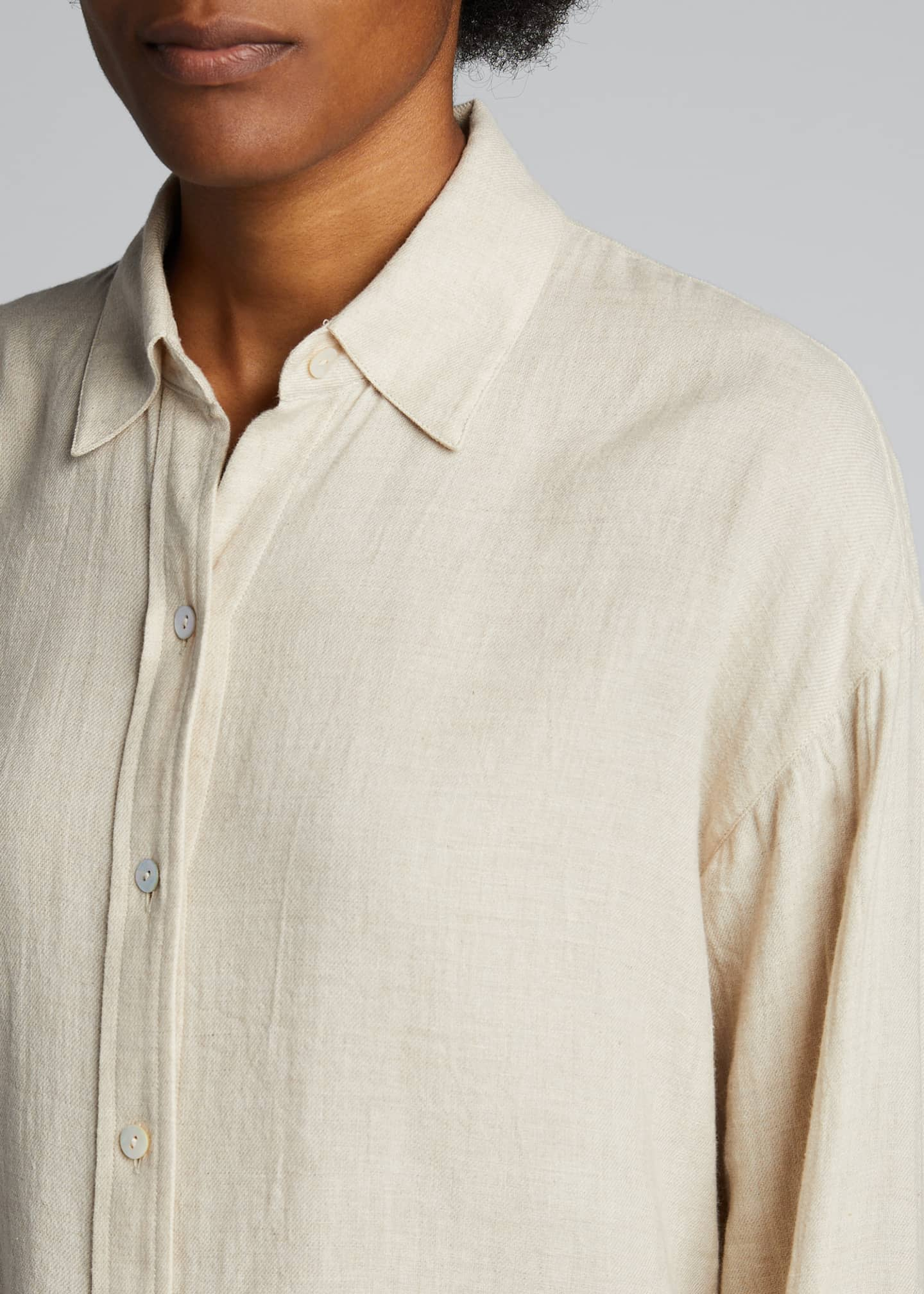 Image 4 of 5: Boxy Long-Sleeve Button-Down Top